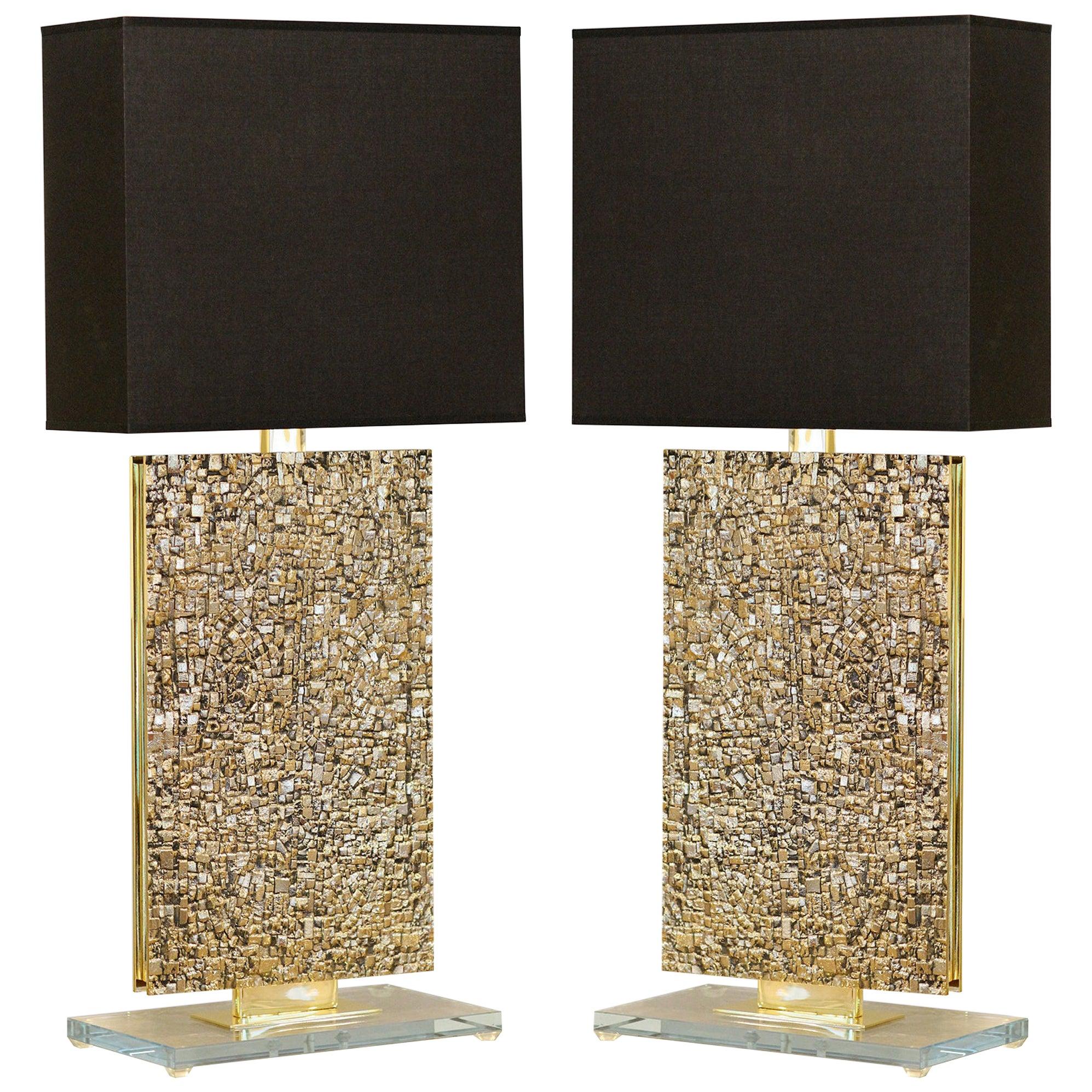 Pair of Sculptural Bronze Table Lamps