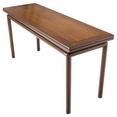 Midcentury Walnut Flip Top Console Dining Table on Cylinder Legs