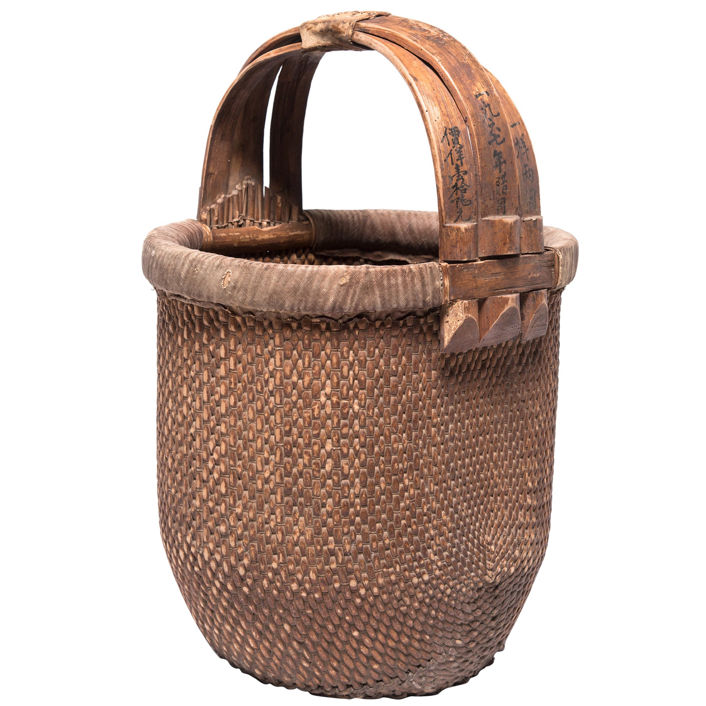 Chinese Bent Handle Basket, circa 1850