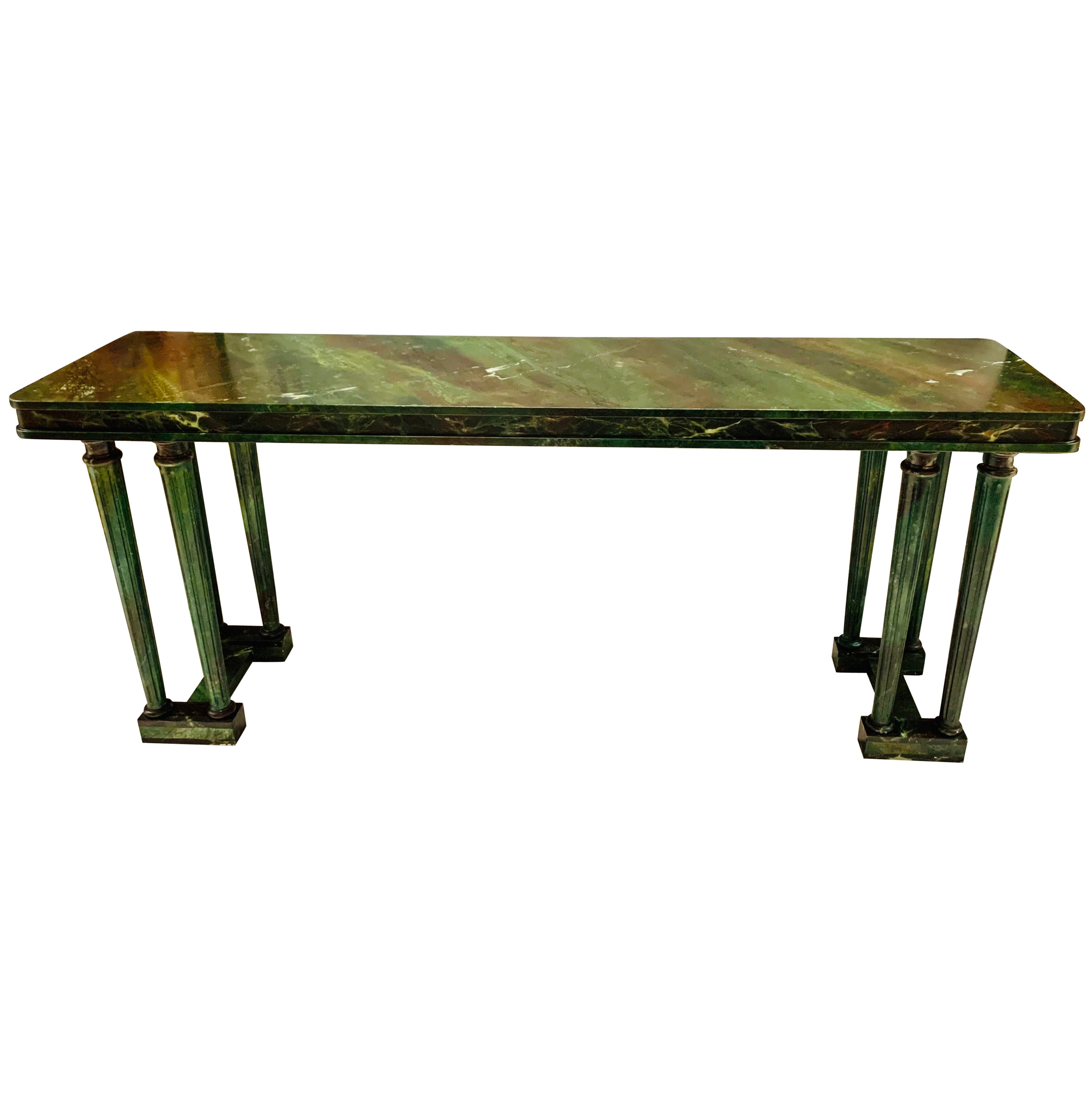 Neoclassical Style Hand Painted Faux Green Marble Console Table