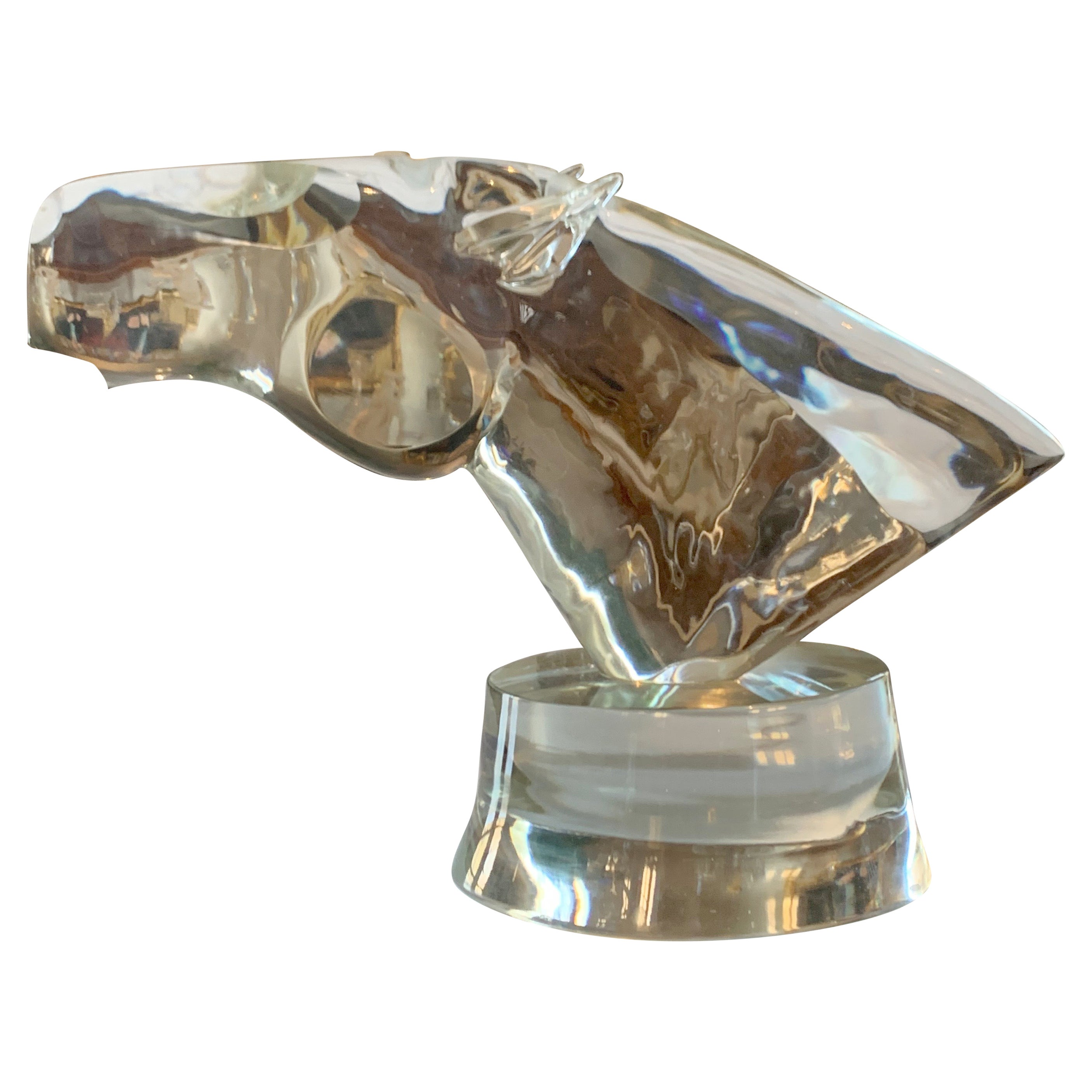 Murano Glass Sculpture of Horse Head by Loredano Rosin