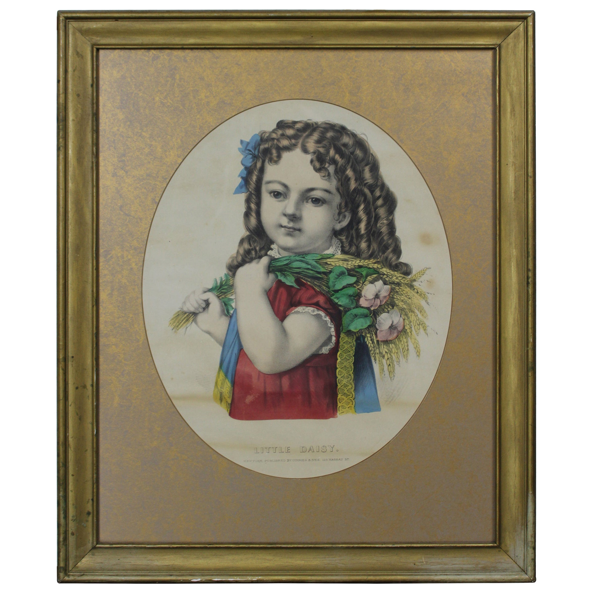 Antique Currier & Ives Little Daisy Lithograph Victorian Girl Flowers Gold