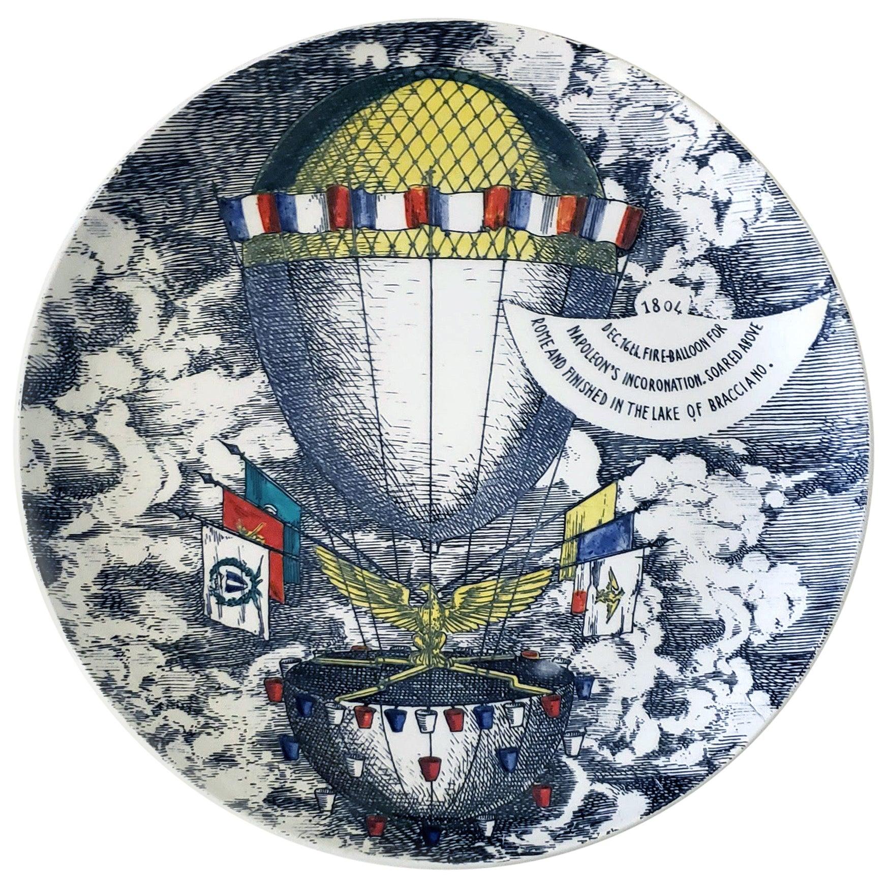 Vintage Piero Fornasetti Plate, Mongolfiere 'hot air' Design