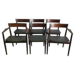 St of Six Rosewood Dining Chairs by Henry Rosengren Hansen, 1960's