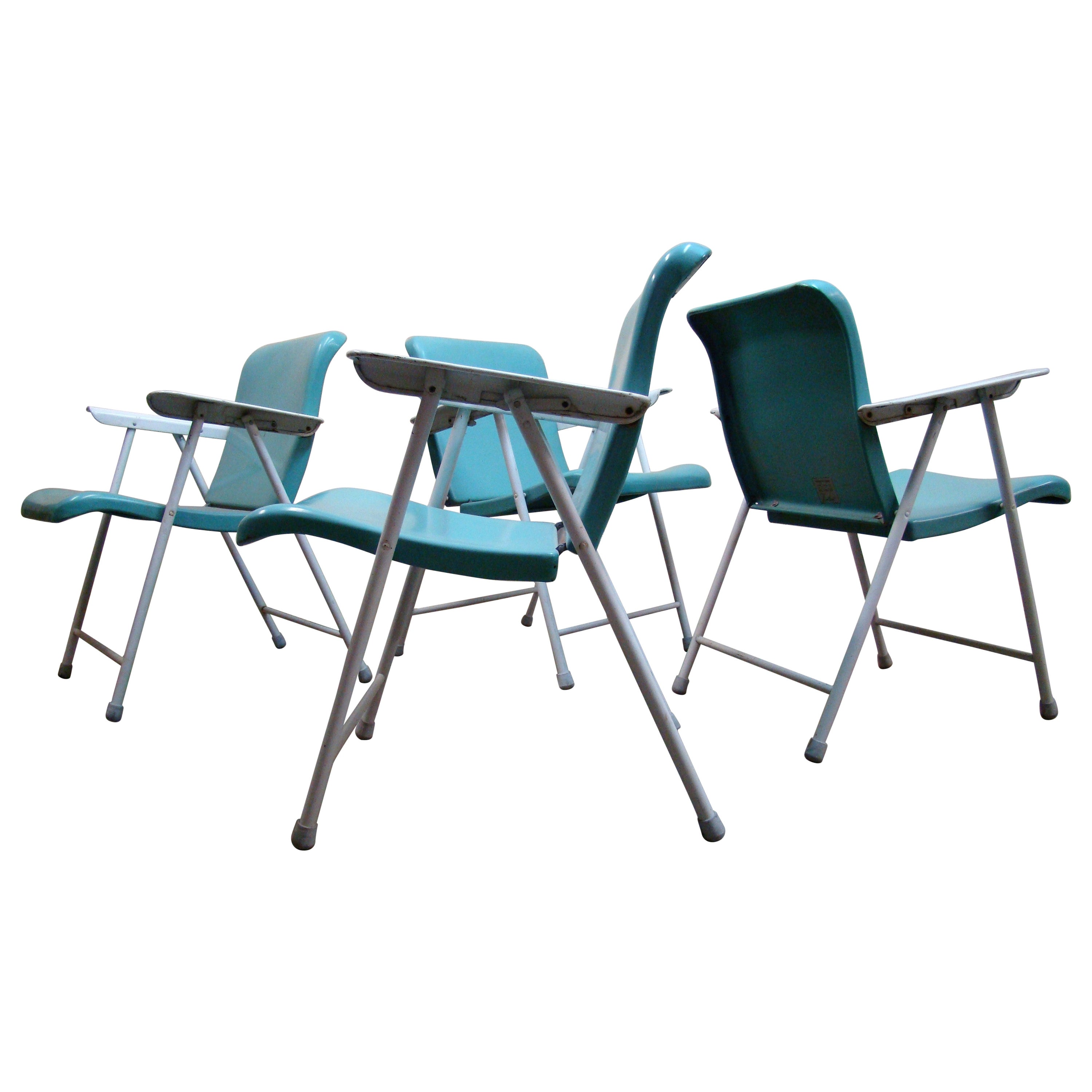 "Original ""Sky Blue"" Russel Wright Folding Metal Outdoor Chairs, 1950s"