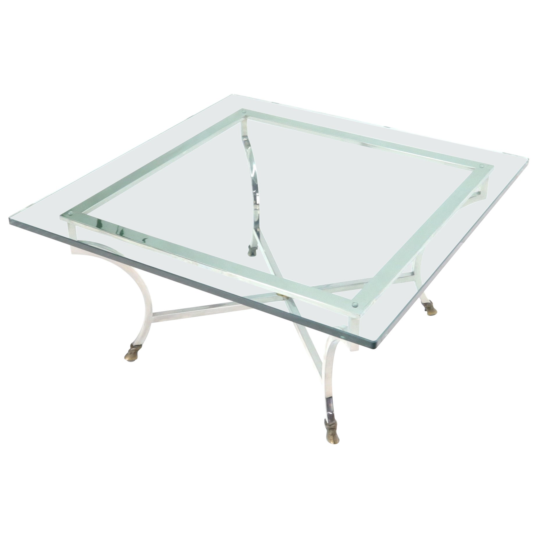 Square Chrome and Brass Hoof Feet Base Thick Glass Top Coffee Table