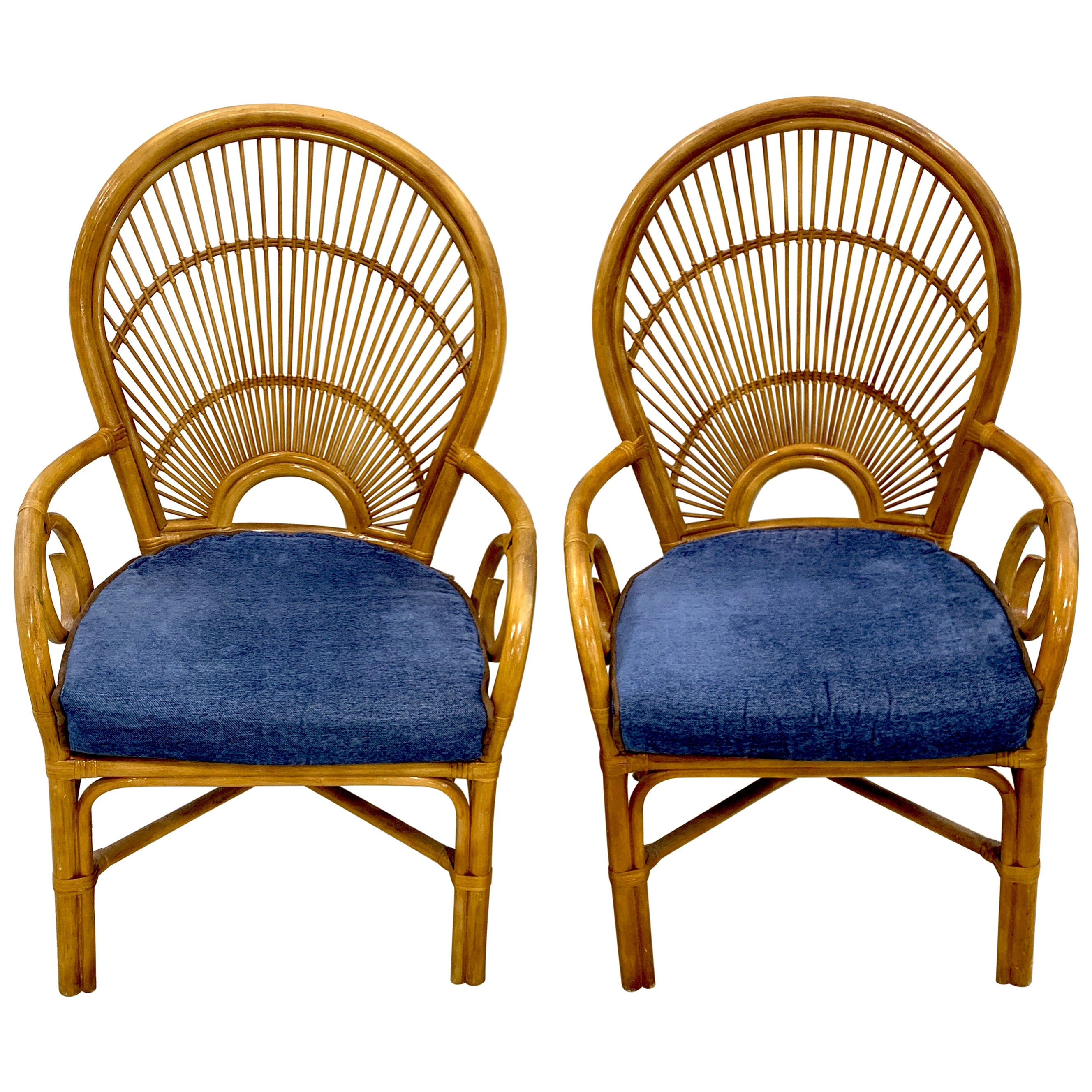 Pair of 1970s Bamboo and Rattan 'Sunrise' Armchairs