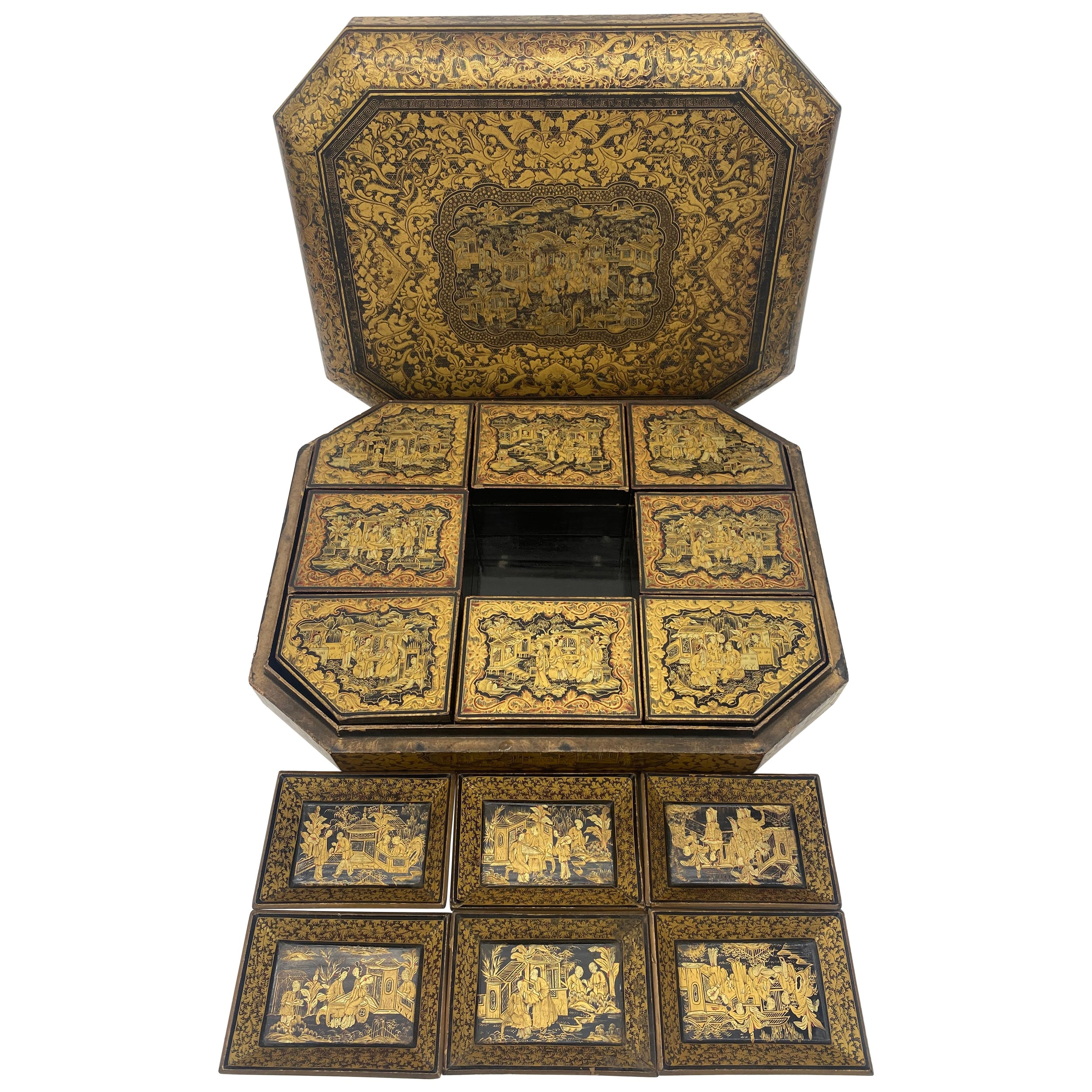Antique 19th Century Export Chinese Gilt Chinoiserie Lacquer Gaming Box