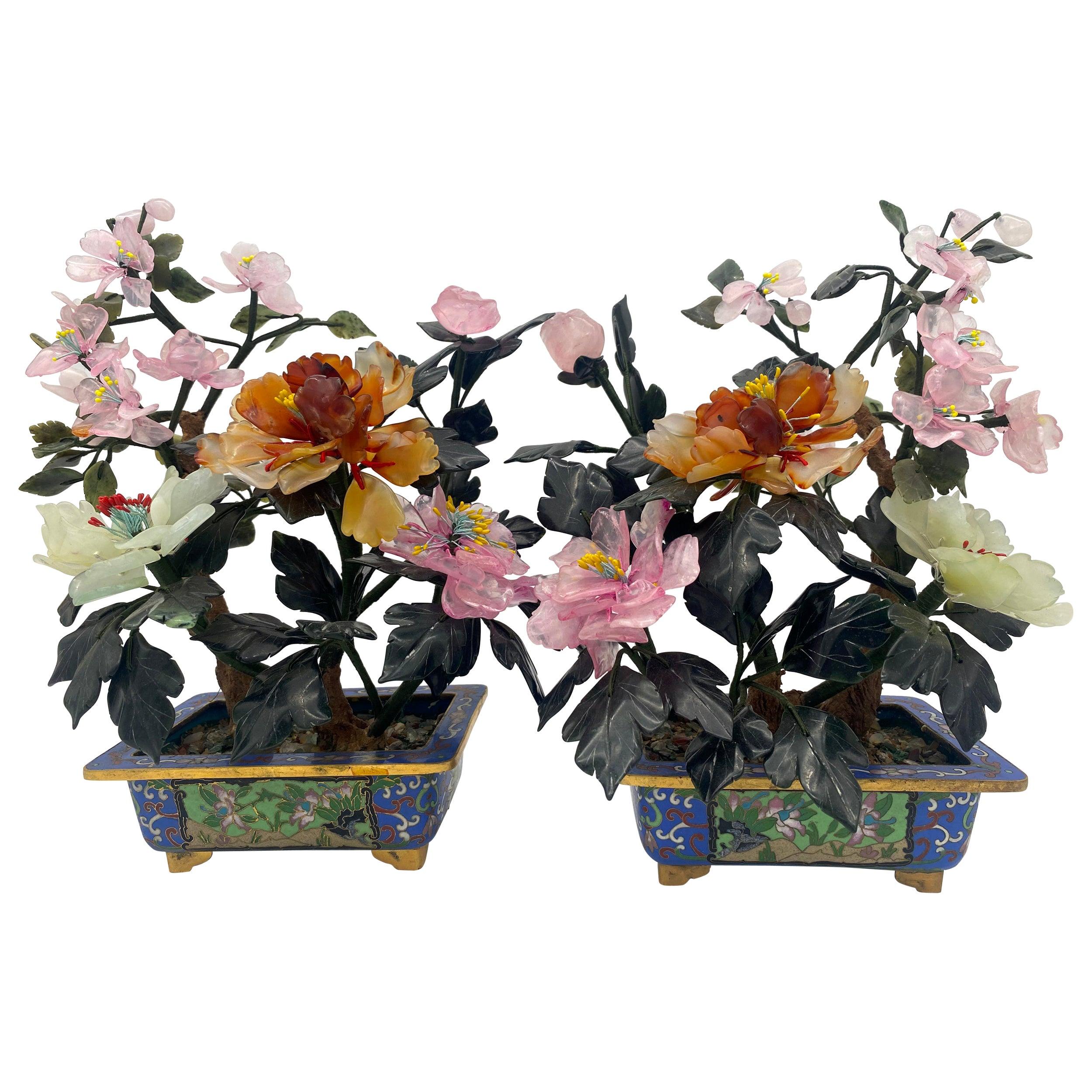 Chinese Multi-Color Bonsai Tree in Cloisonné Pot