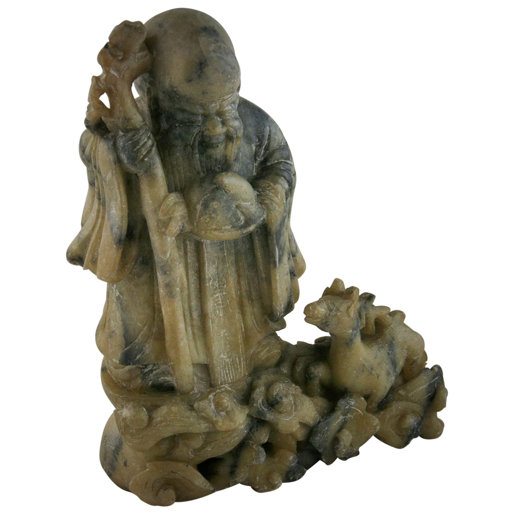 Buddha Soapstone Sculpture with Turtle and Deer