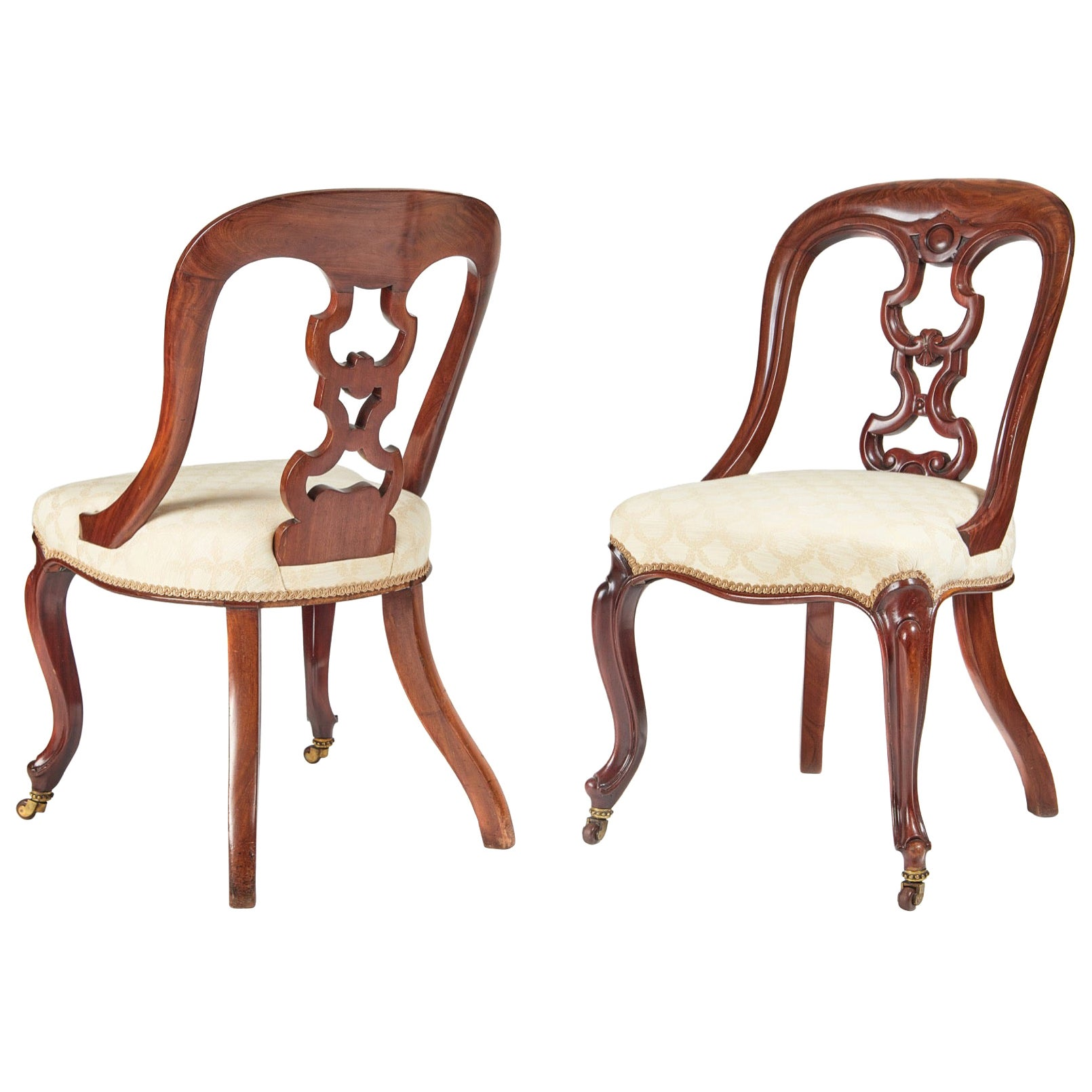 Fine Quality Pair of Antique Victorian Mahogany Side or Hall Chairs