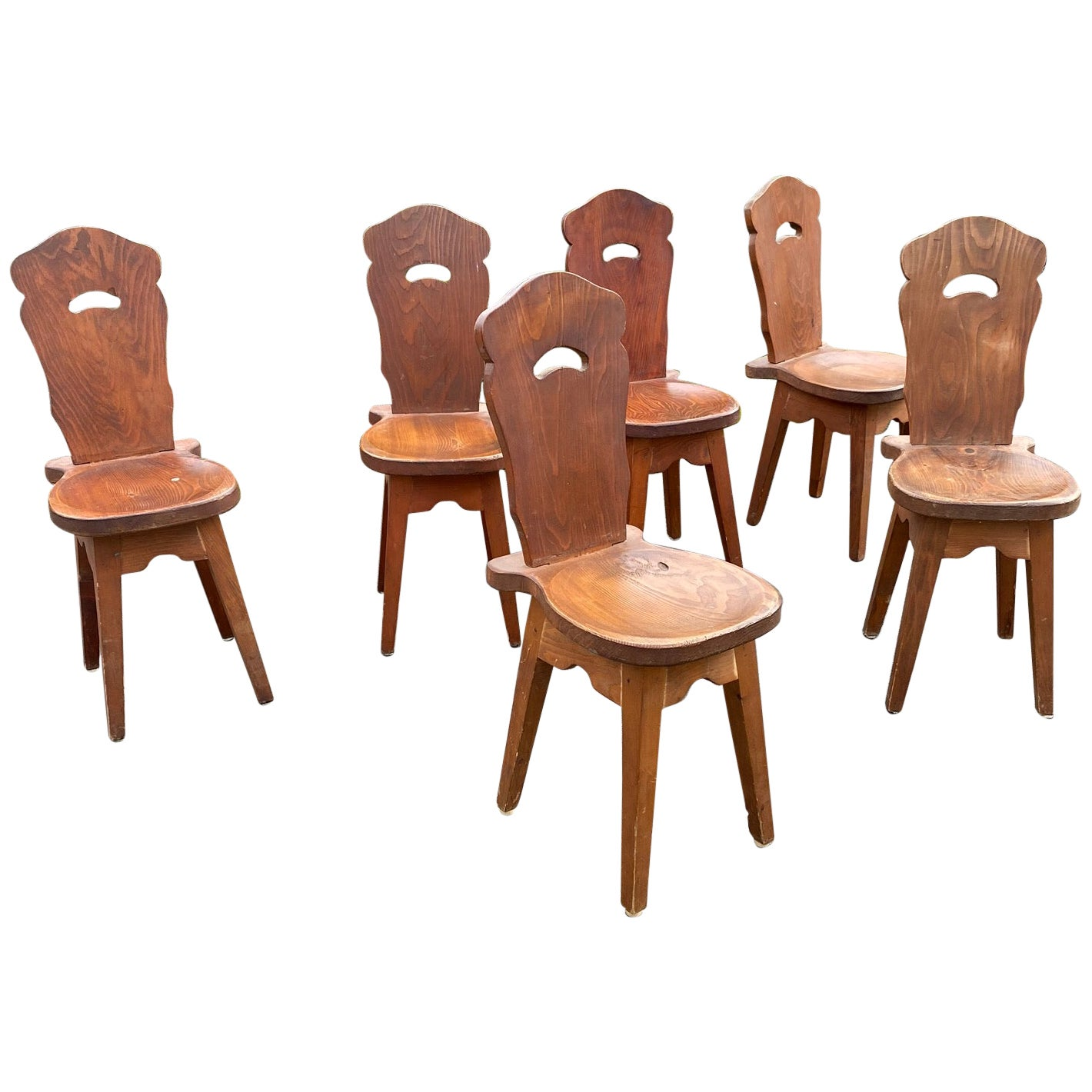 6 Brutalist Mountain Chairs, in Pine circa 1950