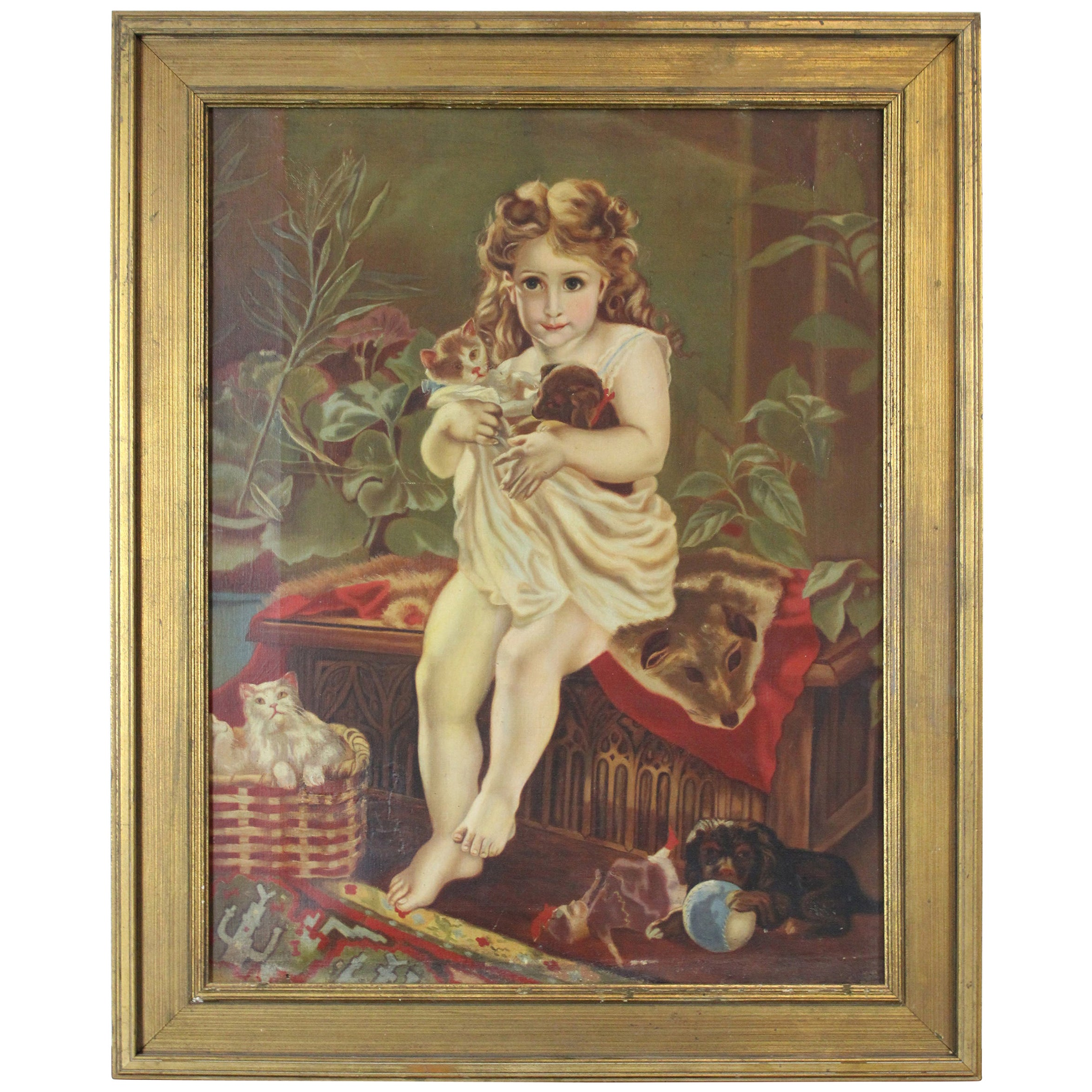 Antique Victorian Oil Portrait Painting of a Young Girl with Cats Dogs