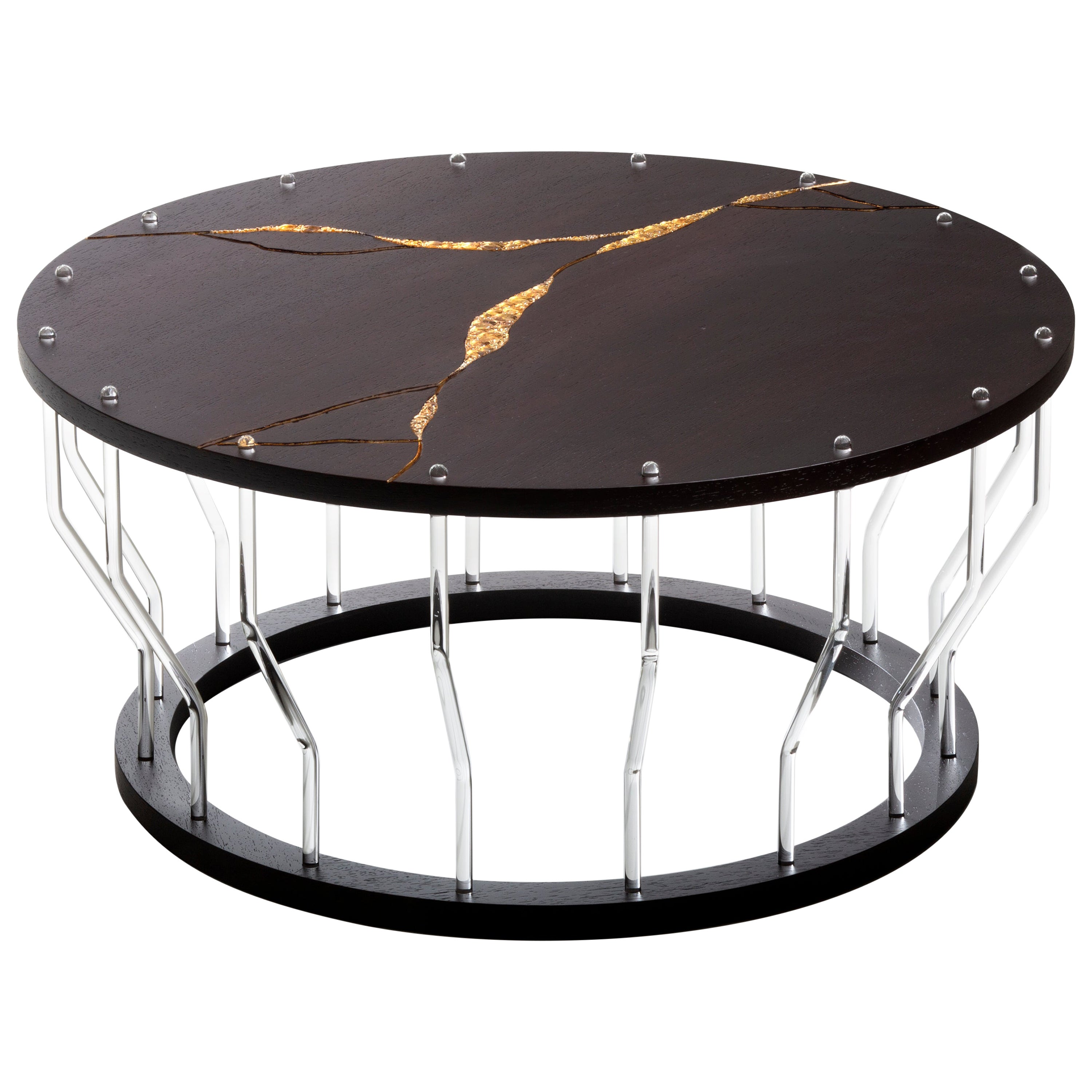 Wood and Glass Coffee Table Handmade by Giordano Viganò and Simone Crestani
