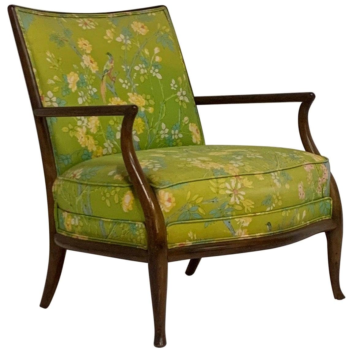 Robsjohn Gibbings for Widdicomb Model 2024 Lounge Chair w. Whimsical Upholstery