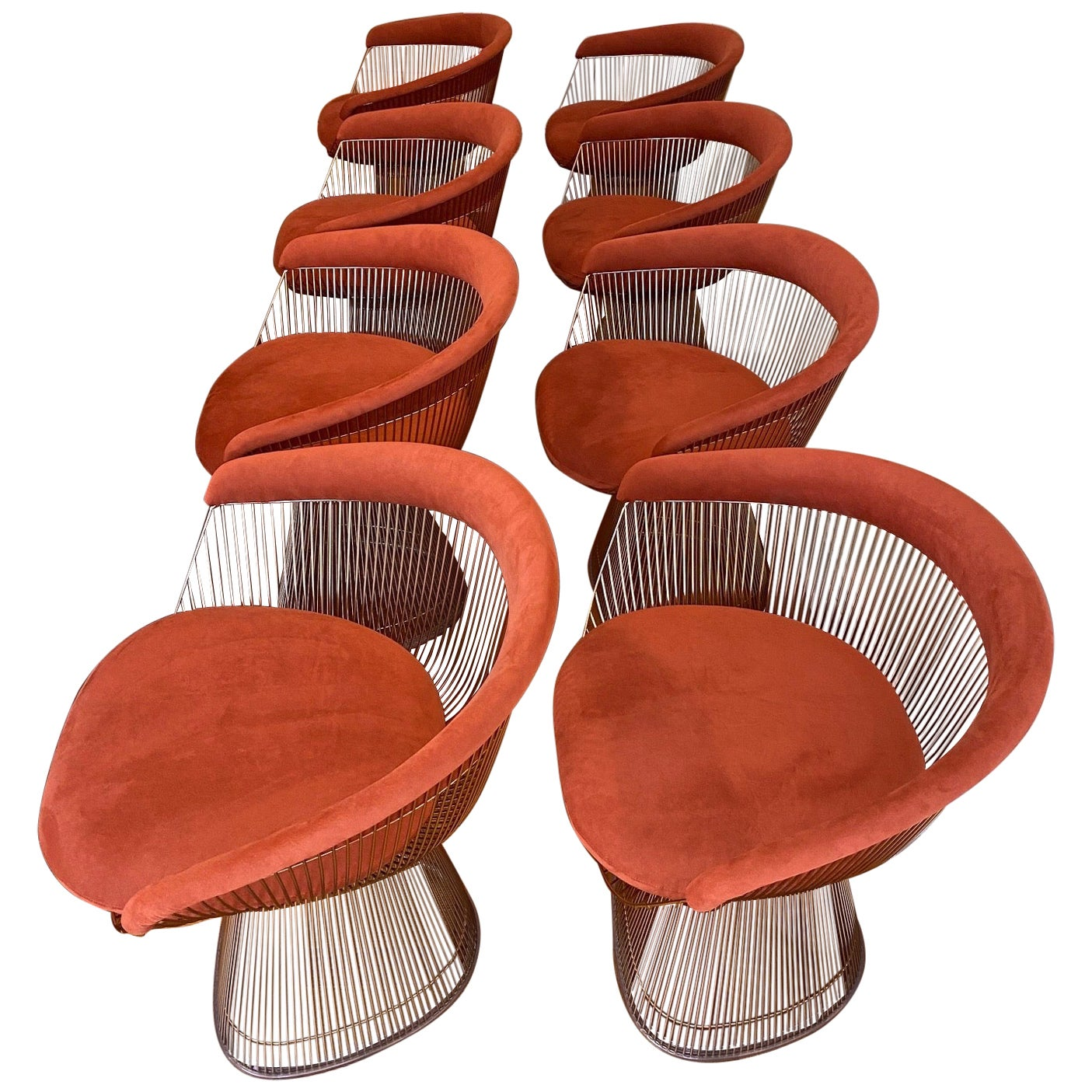 Set of Eight Warren Platner for Knoll Wire Armchairs, Late 20th C