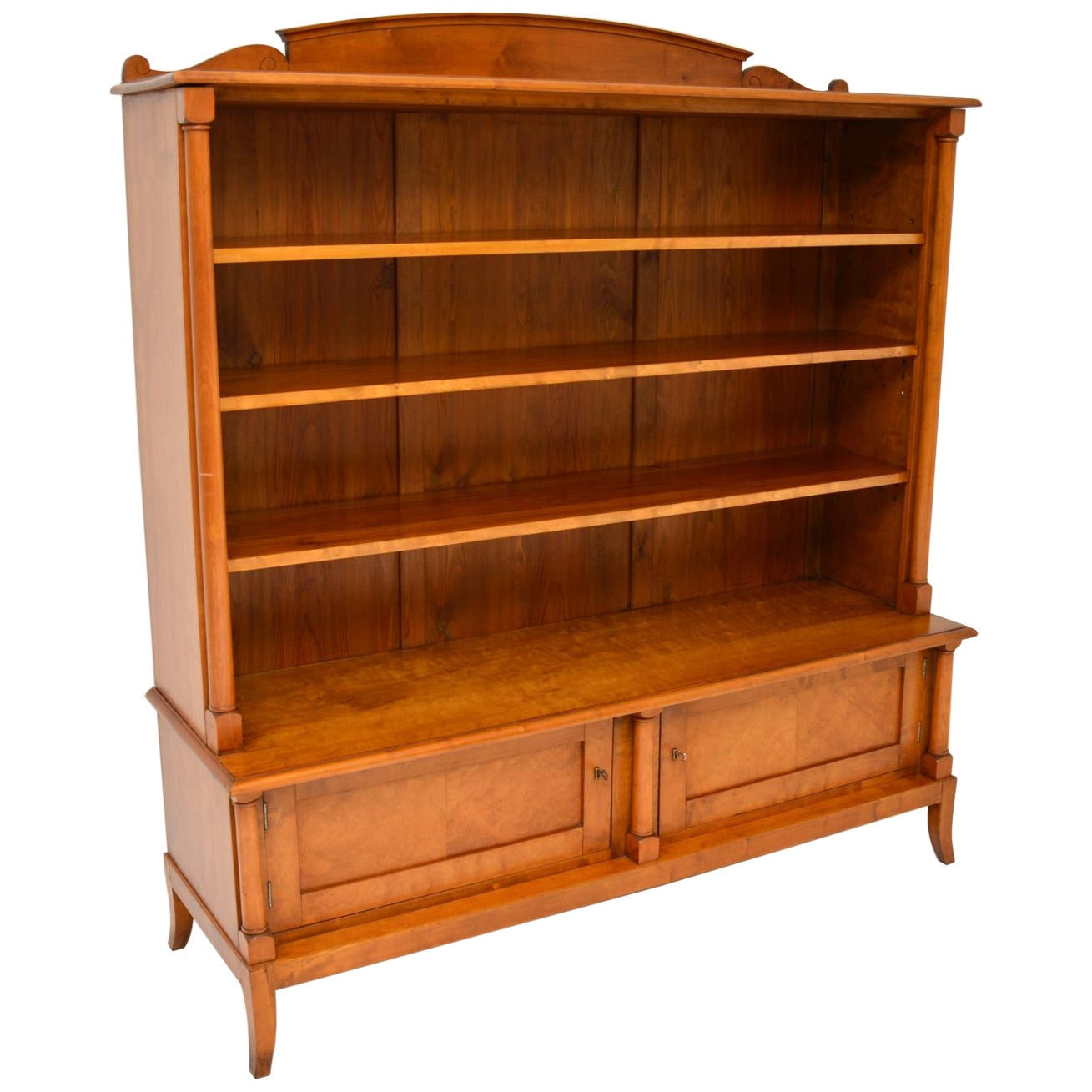 Antique Swedish Biedermeier Satin Birch Bookcase