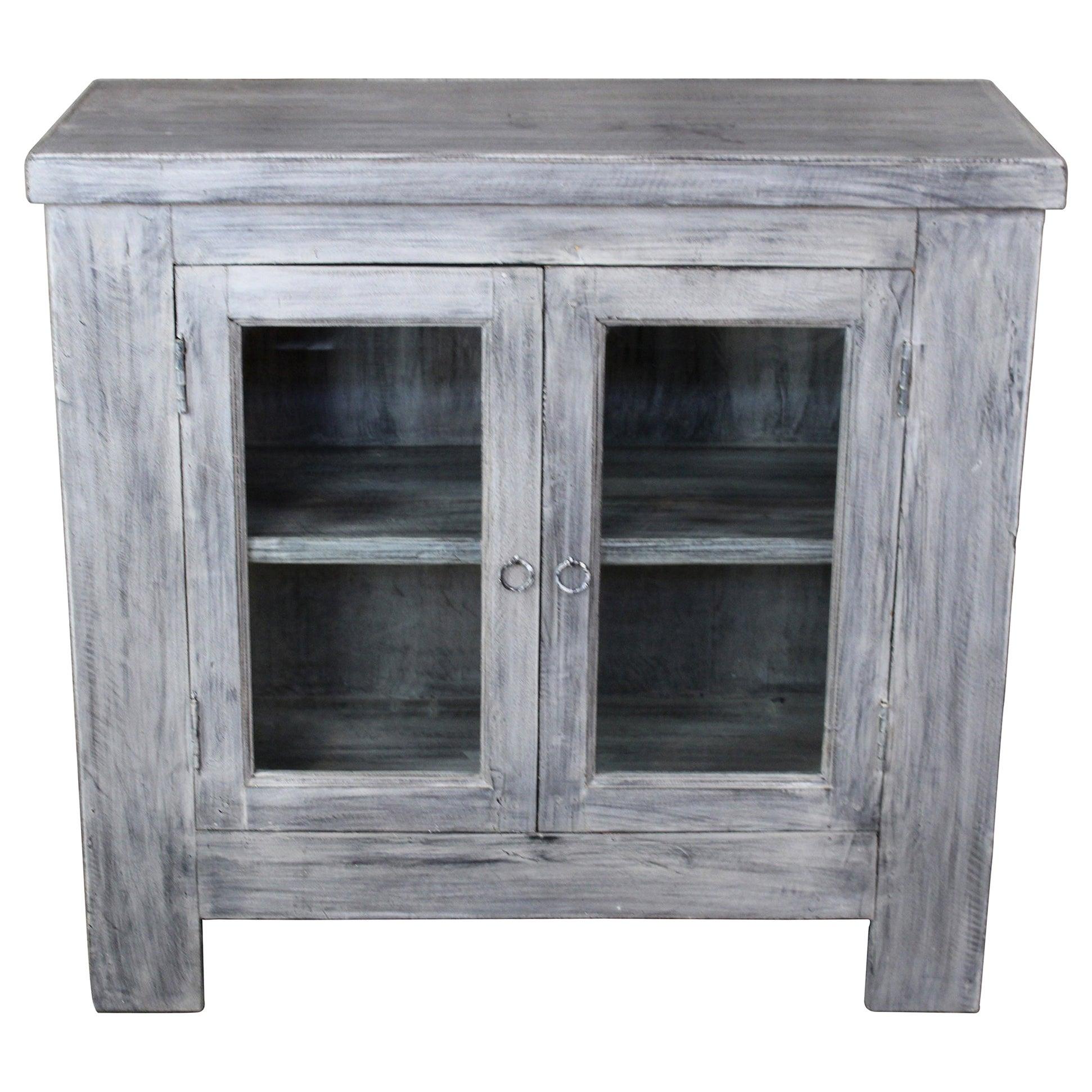 Vintage Arhaus Furniture Modern Grey 2-Door Glass TV Media Cabinet Console