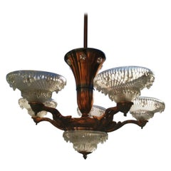 French Art Deco Chandelier with the Original Opaque Moulded Icicle Glass Shades