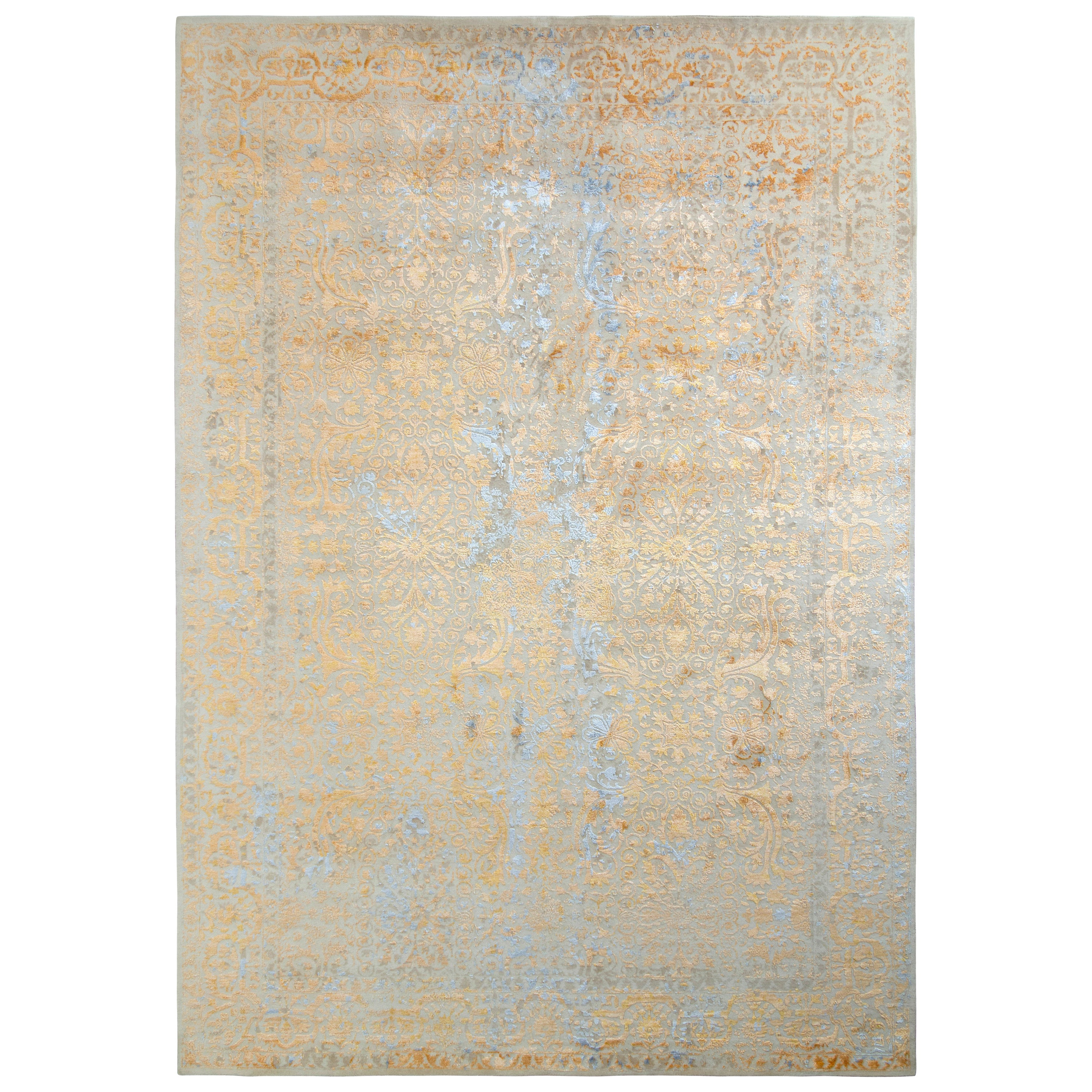 Rug & Kilim's Hand Knotted Classic Style Rug in Beige Orange Floral Pattern