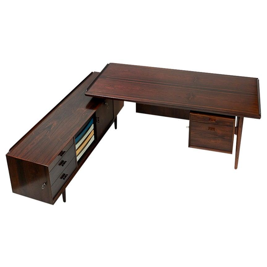Danish Vintage Rosewood Desk with Sideboard, Arne Vodder, 1950s, Restored