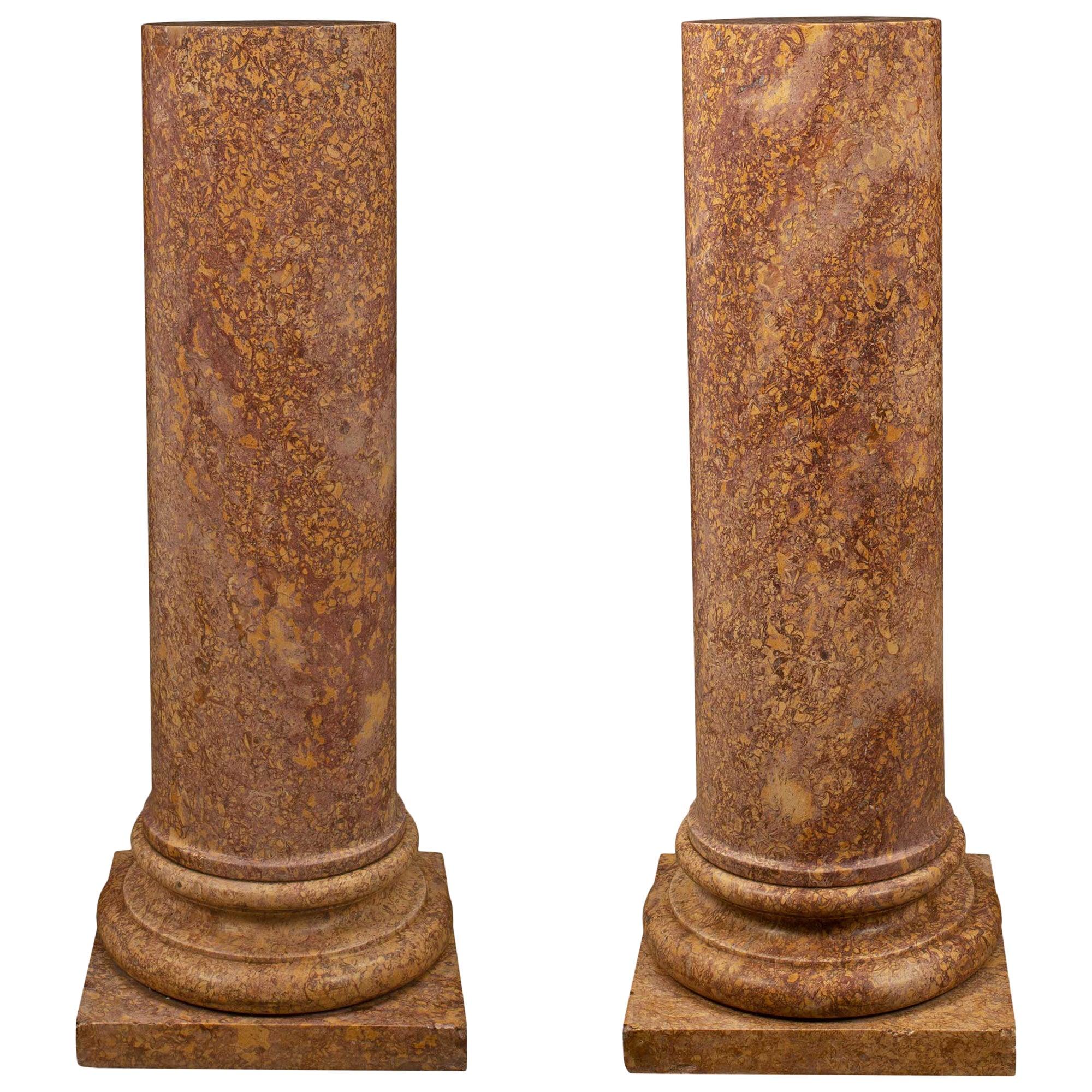 Italian 19th Century Neoclassical St. Marble Pedestal Columns