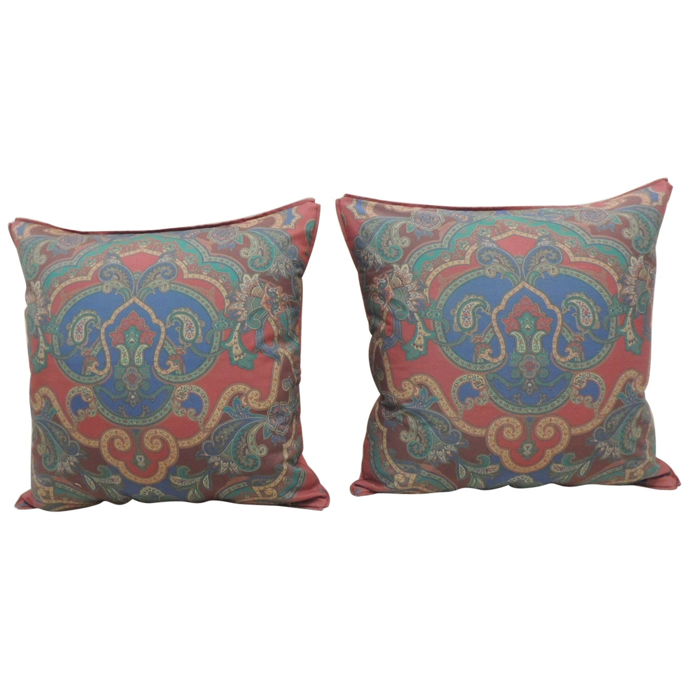 Pair of Modern Cotton Printed Paisleys Square Decorative Pillows