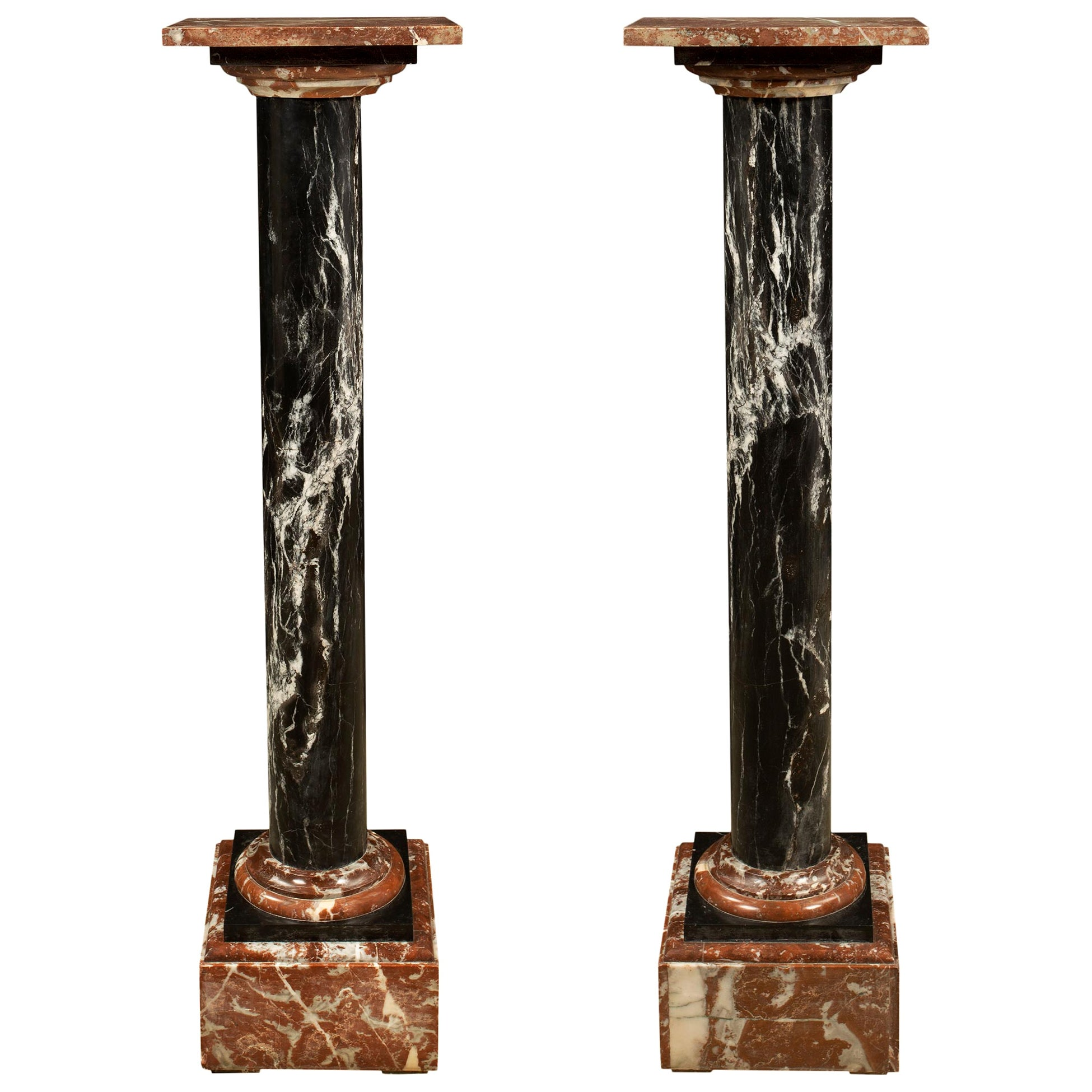 Pair of Italian Neoclassical Style 19th Century Marble Pedestals