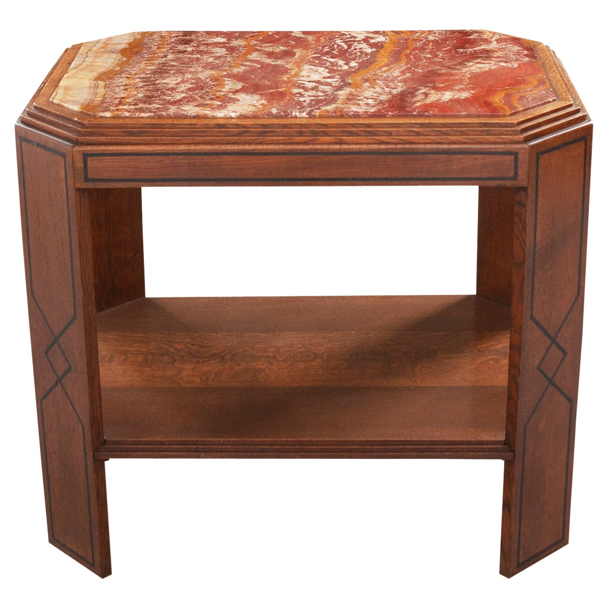 French 20th Century Oak Art Deco Table with Marble Top