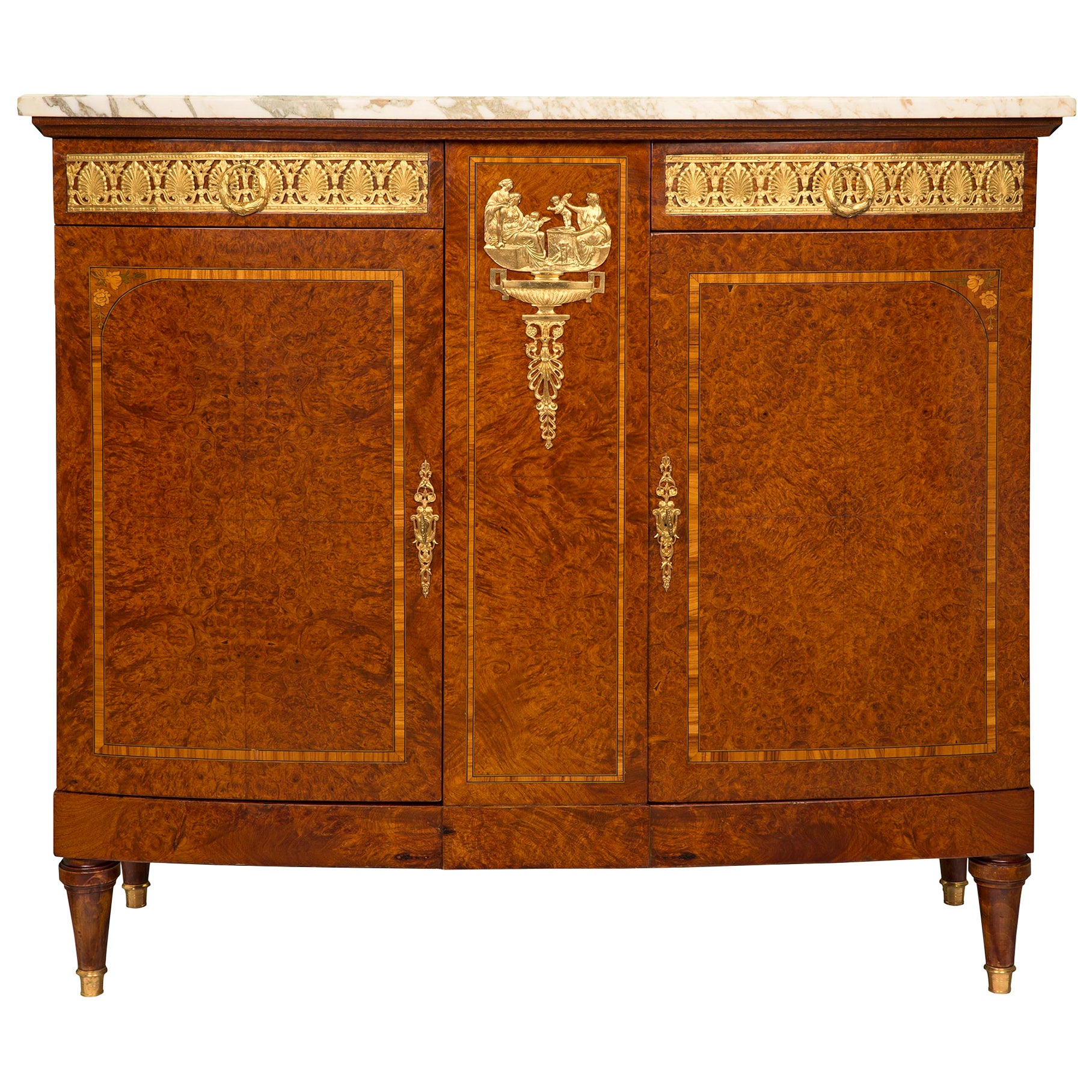 French 19th Century Neoclassical Style Burl Walnut, Tulipwood and Ormolu Buffet