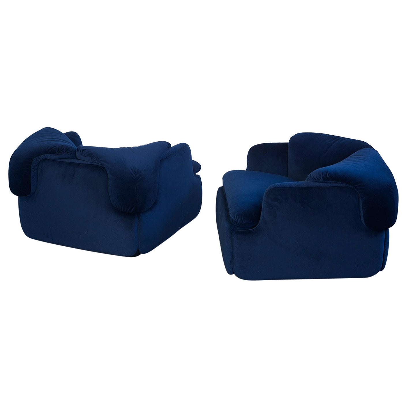 """Pair of Blue """"Confidential"""" Lounge Chairs by Alberto Rosselli for Saporiti, 1972"""