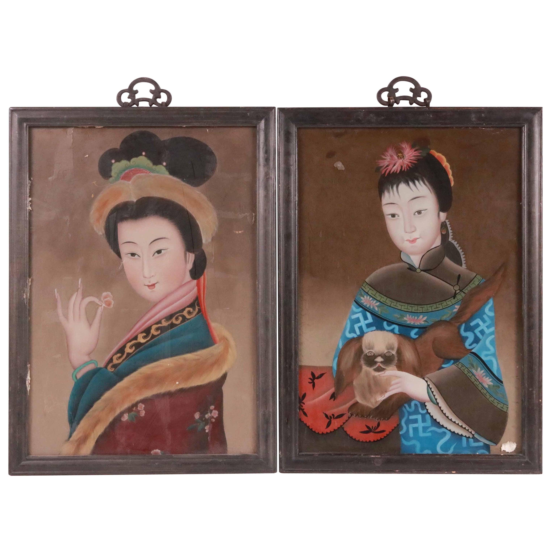 Pair of Chinese Églomisé Portraits of Women, 19th Century