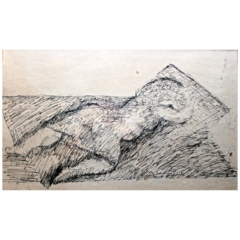 Chana Orloff 'Dancer' 1954 Pen and Ink Drawing
