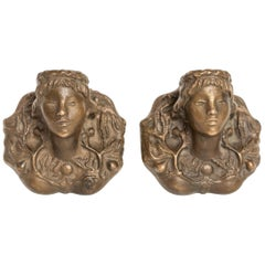 Rare Pair of Solid Bronze Sconces by Vadim Androusov Representing Female Figures