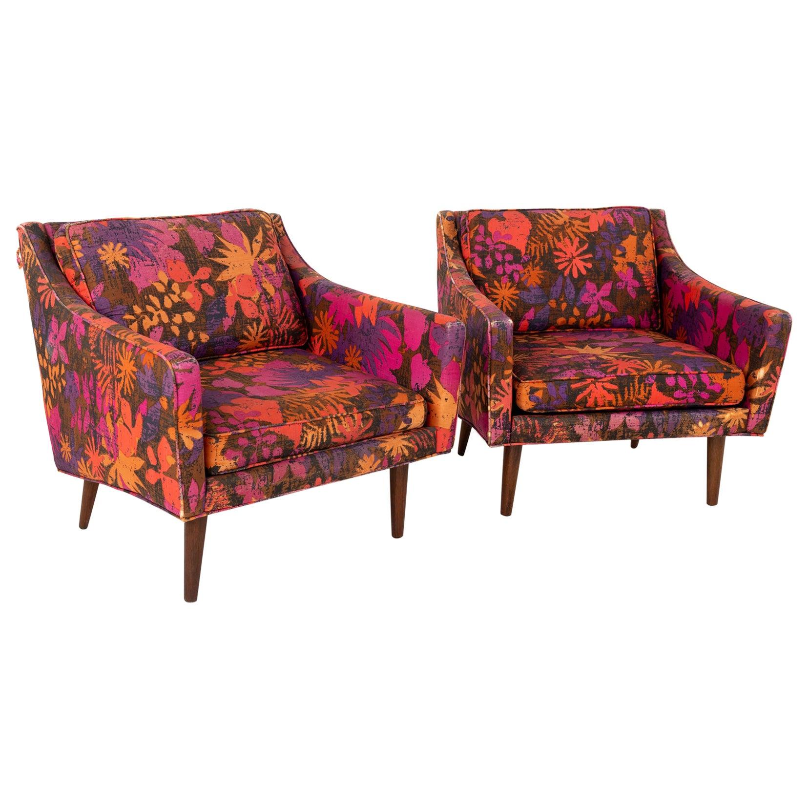 Milo Baughman for Thayer Coggin Mid Century Lounge Chairs, Pair