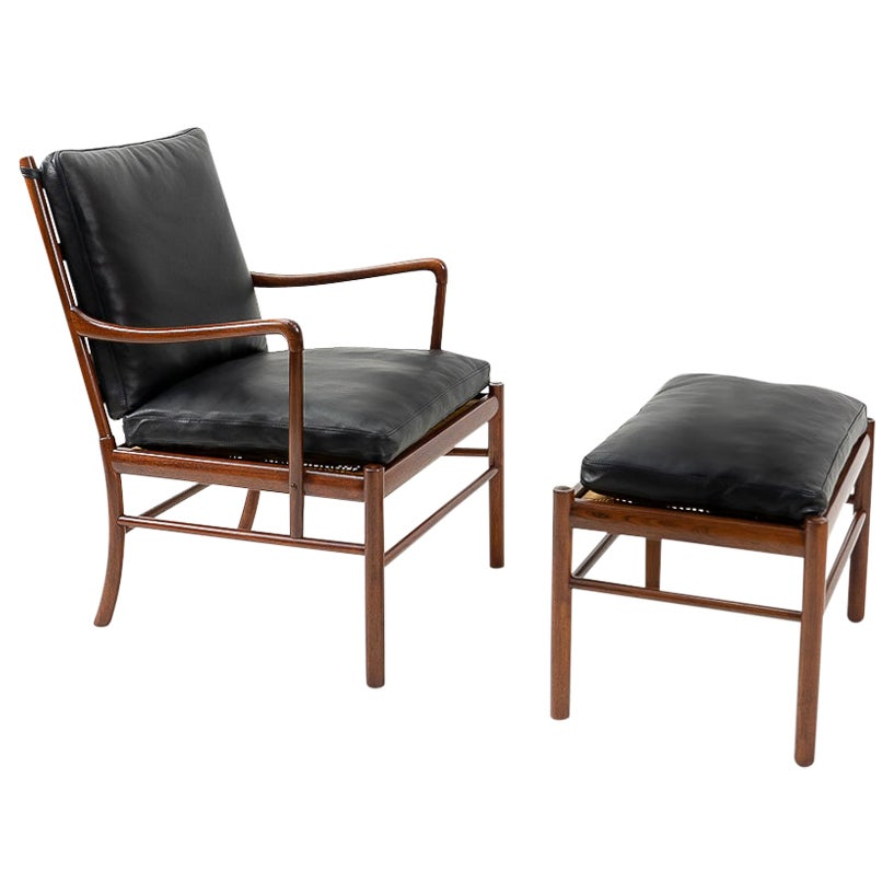 Vintage Danish Design Colonial Lounge Chair and Ottoman, by Ole Wanscher, 1950s