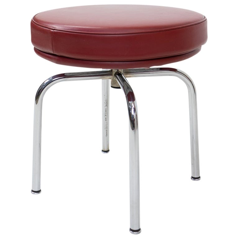Vintage Red Lc8 Stools by Charlotte Perriand for Cassina, 1980s