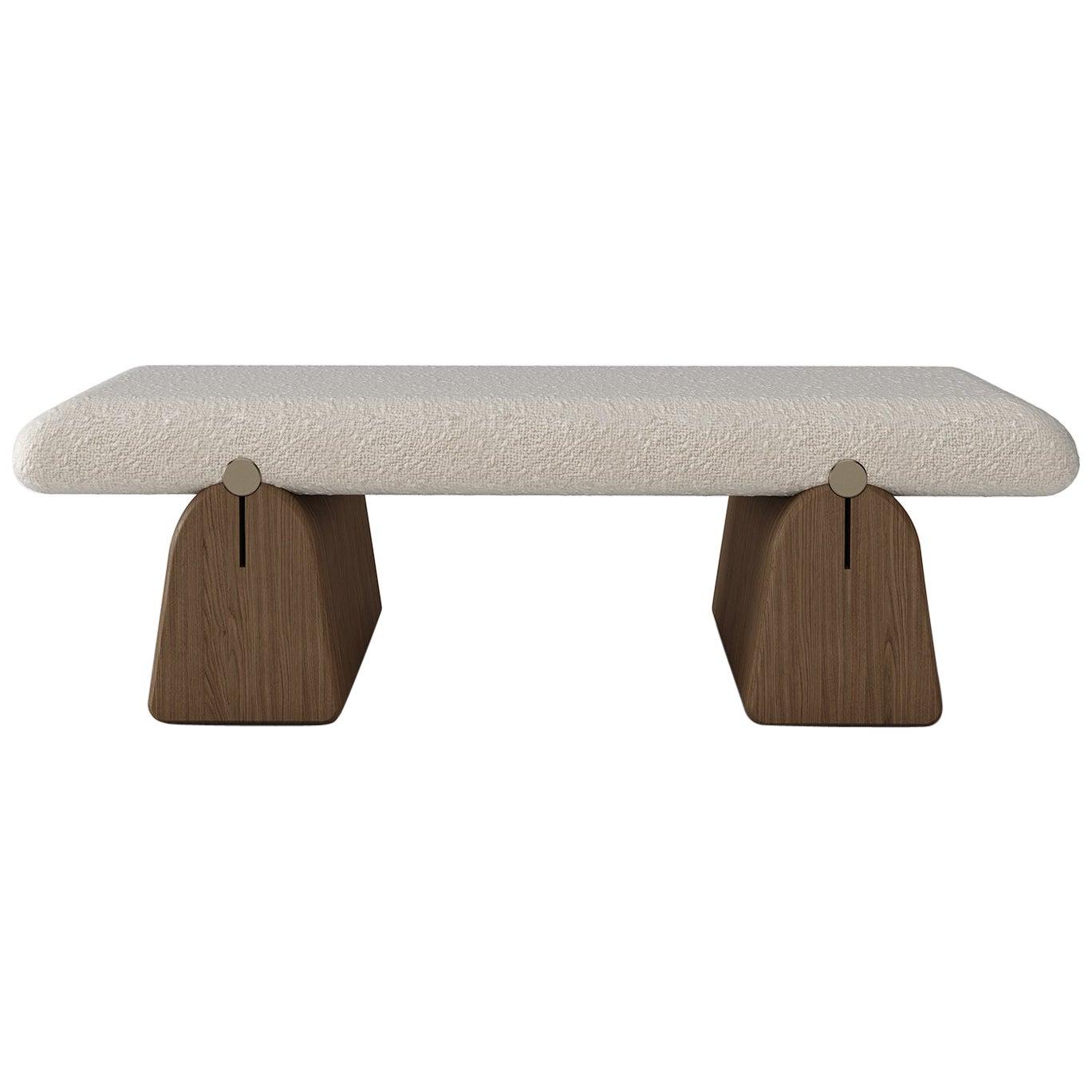 IO Bench by Buket Hoscan Bazman, Bouclé, Brass, Oak, Furniture