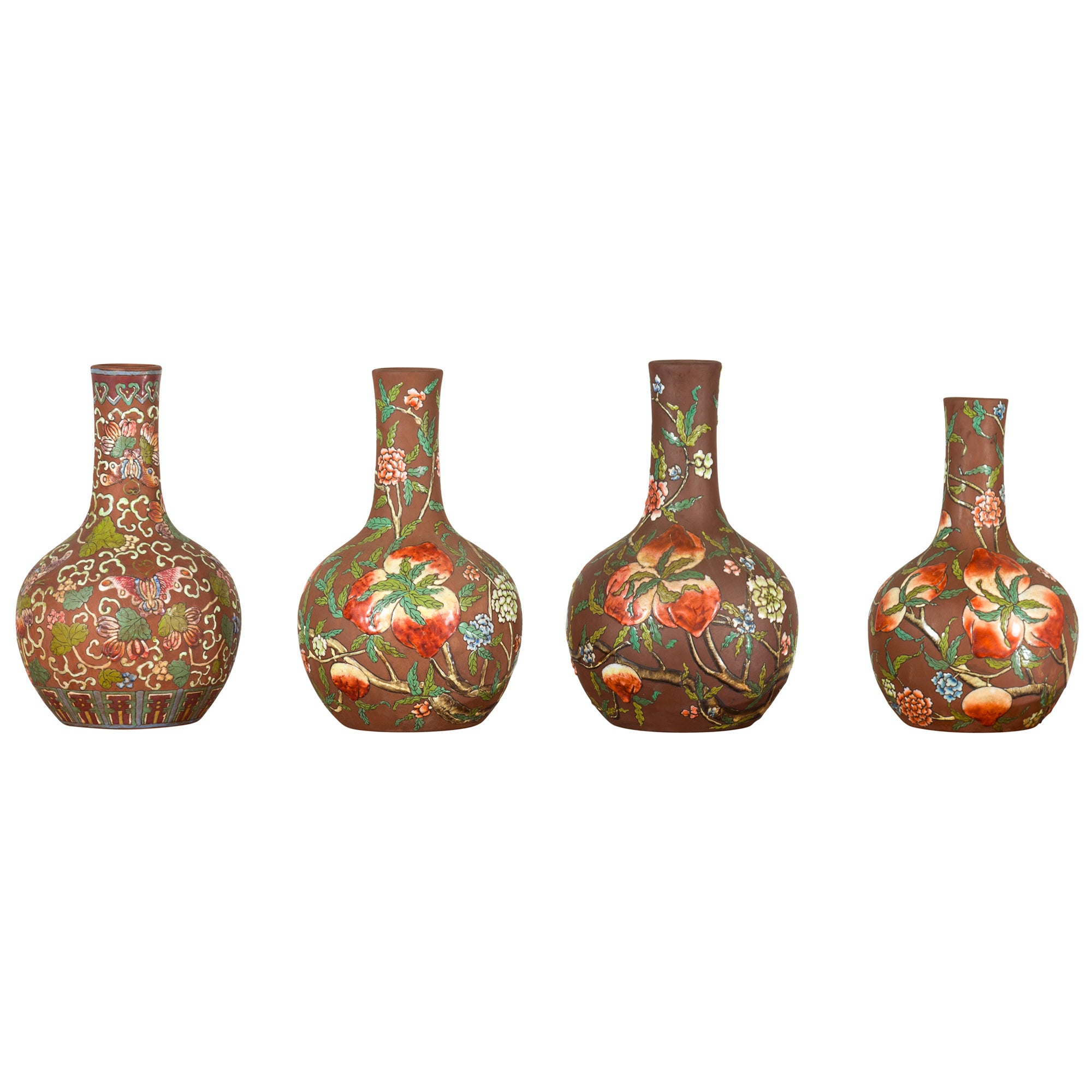 Vintage Chinese Kendi Shape Porcelain Vases with Raised Floral and Fruit Décor