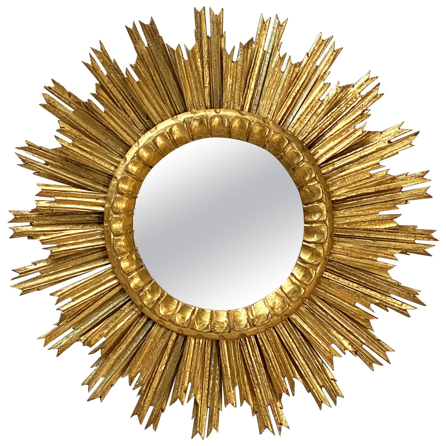 French Gilt Starburst or Sunburst Convex Mirror (Diameter 24)