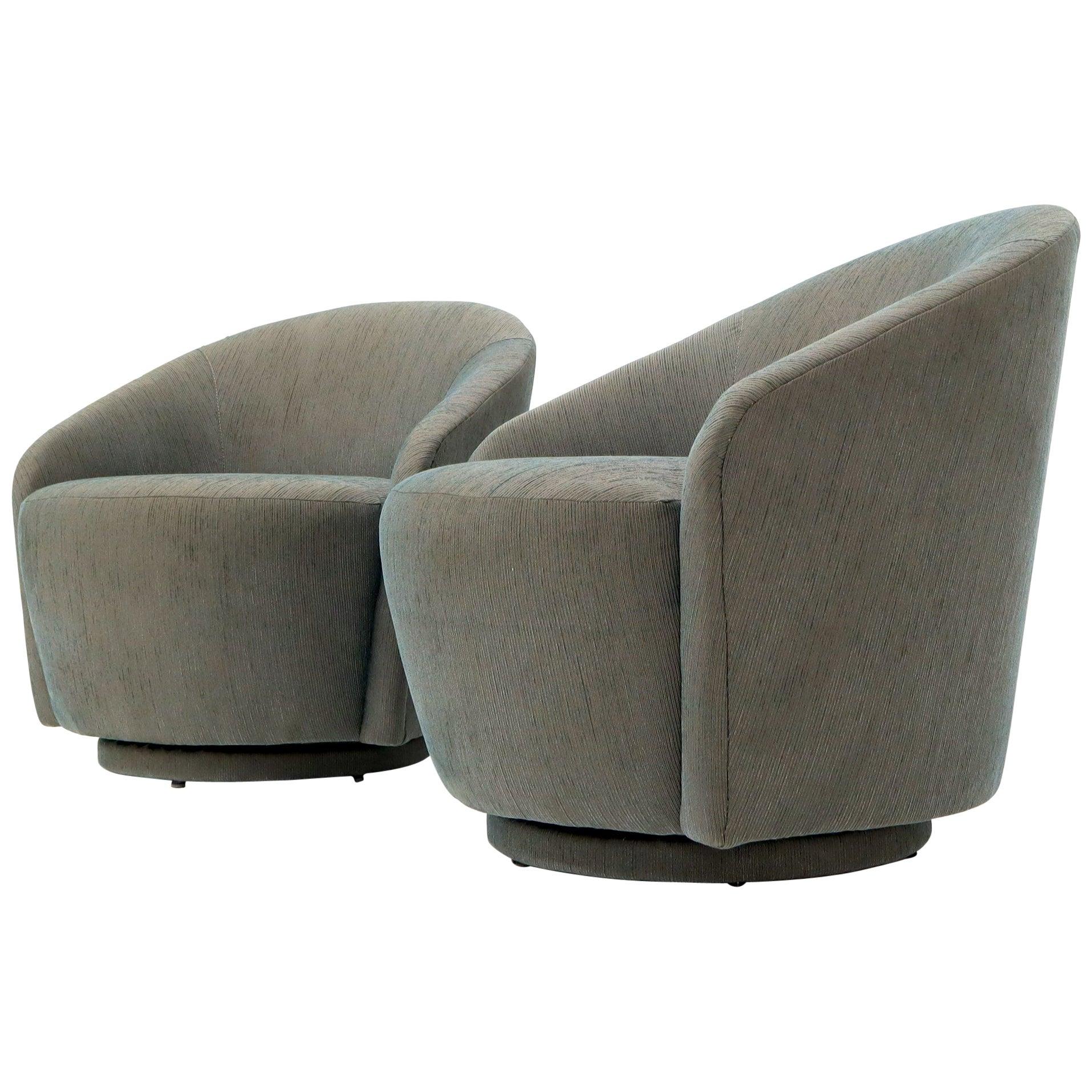 Pair of Barrel Back Tub Swivel Lounge Slipper Chairs Milo Baughman Style