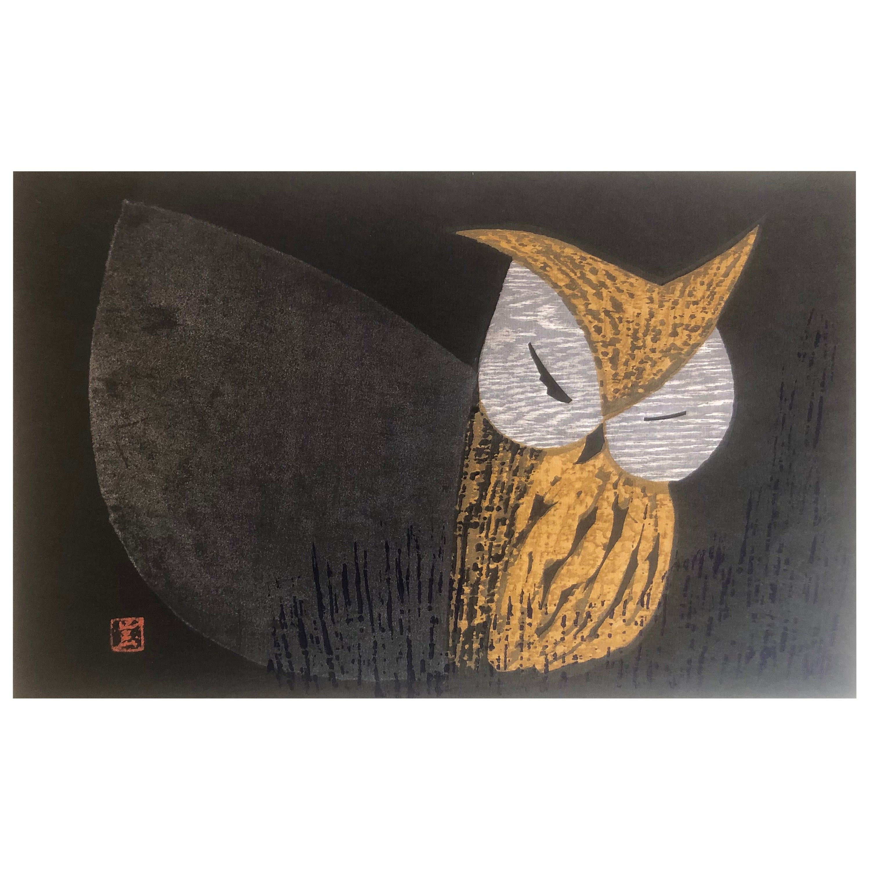 "Mid-Century Wood Block Owl Print Moonlight Night"" by Kaoru Kawano"