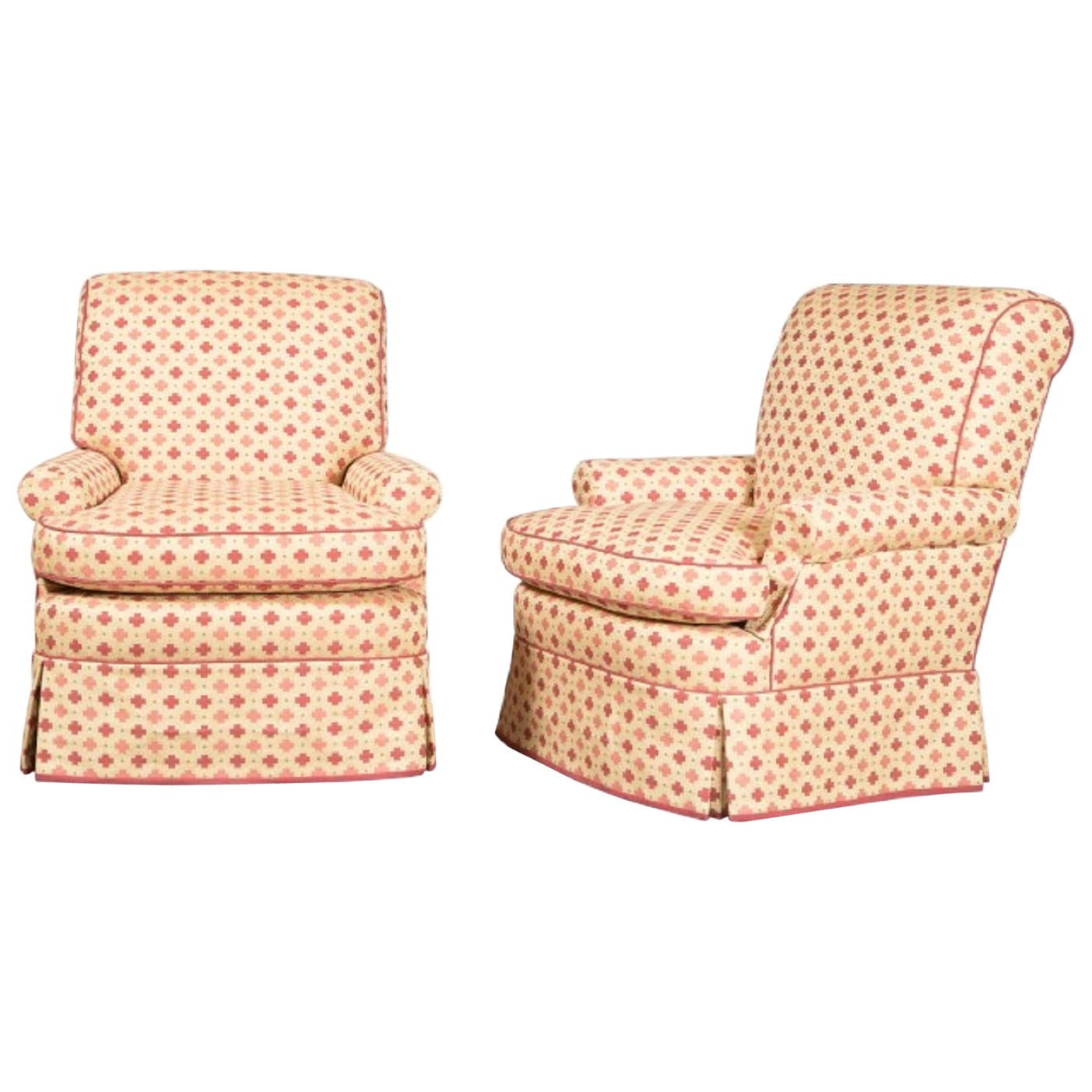 Pair of 1960s Decorative Upholstered Swivel Lounge Chairs