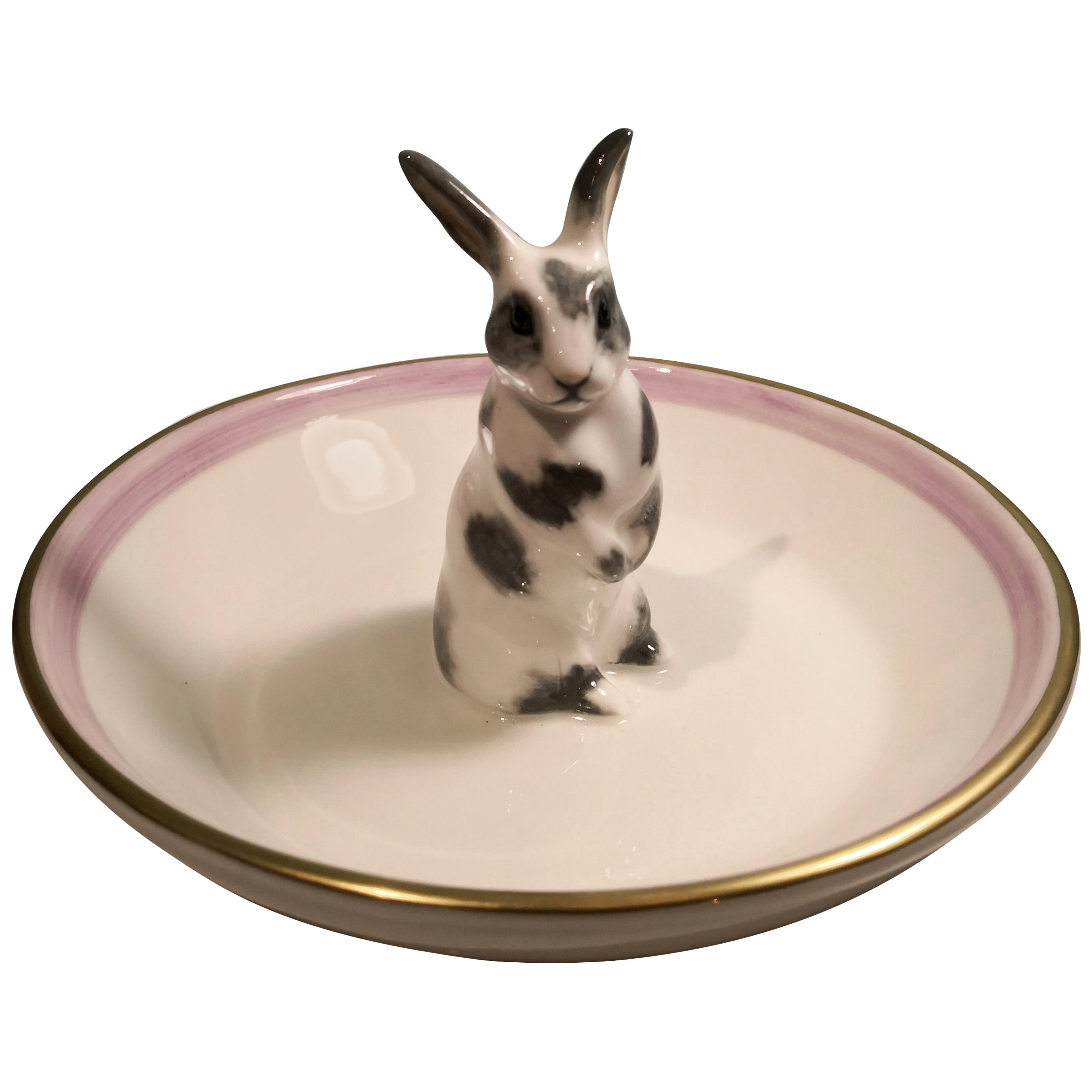 Country Style Porcelain Bowl with Bunny Figure Sofina Boutique Kitzbuehel