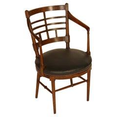 E W Godwin Style of Jacobean or Old English Aesthetic Movement Oak Armchair