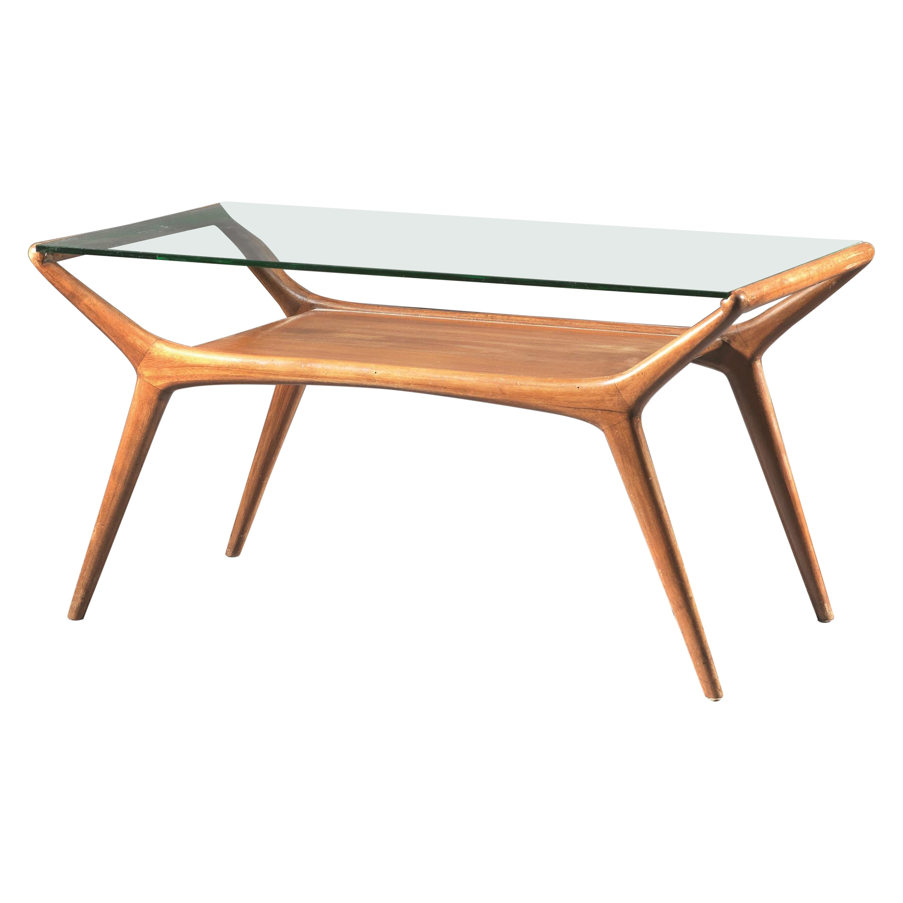 Ico Parisi Low Table with Glass Shelf Italian Manufacture, 1950s