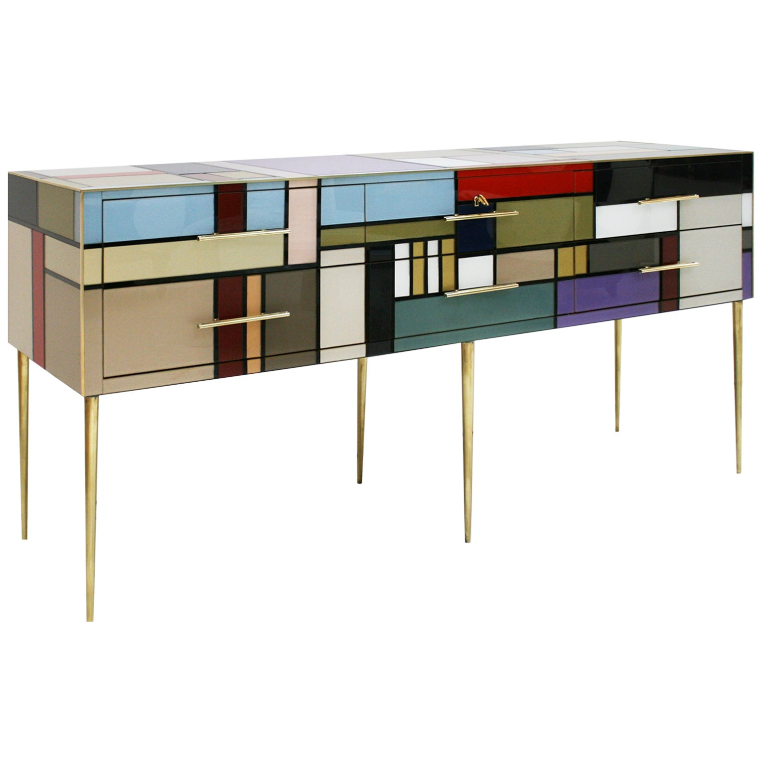 L.A. Studio Six Drawers Murano Colored Glass Brass Italian Sideboard