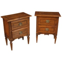 Pair of 20th Century Inlaid Wood Italian Louis XVI Style Bedside Tables, 1960