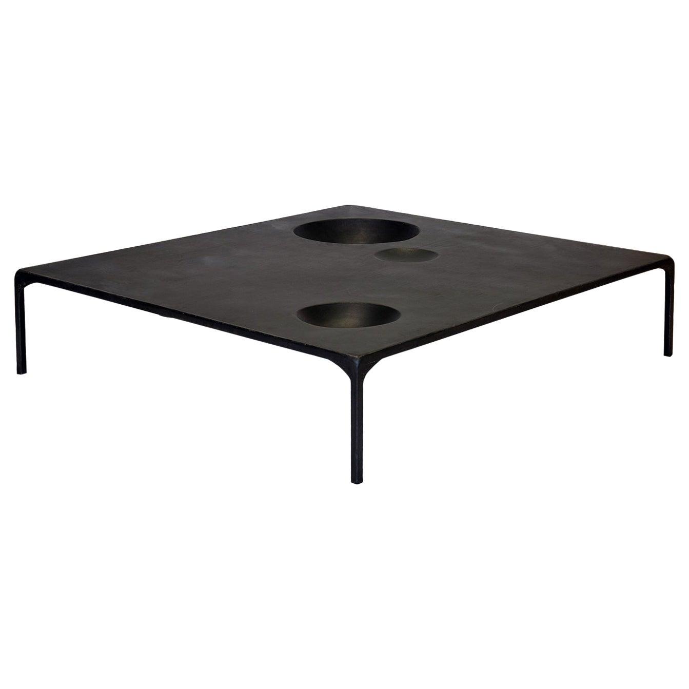 Coffee Table Monumental Modern Handmade Geometric Blackened Steel Large Waxed