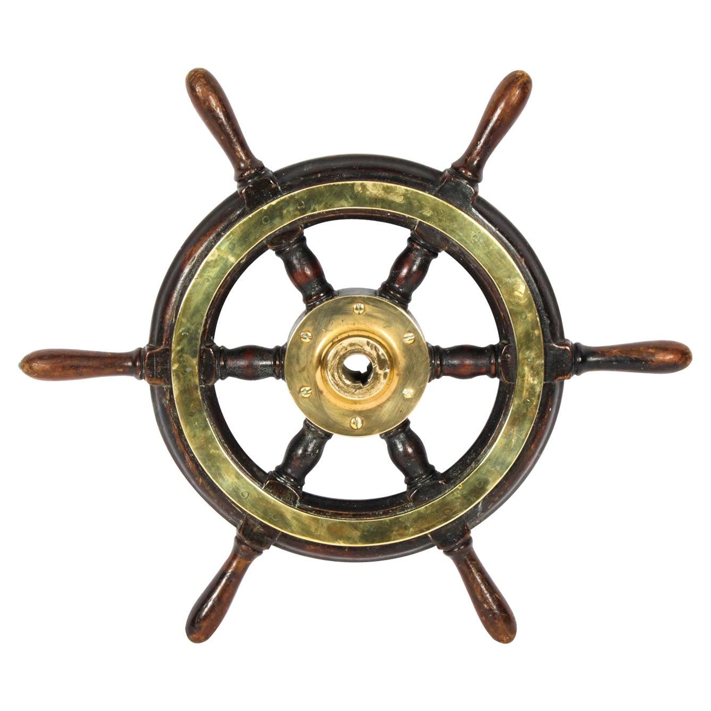 Antique Teak and Brass Set 6-Spoke Ships Wheel, 19th Century
